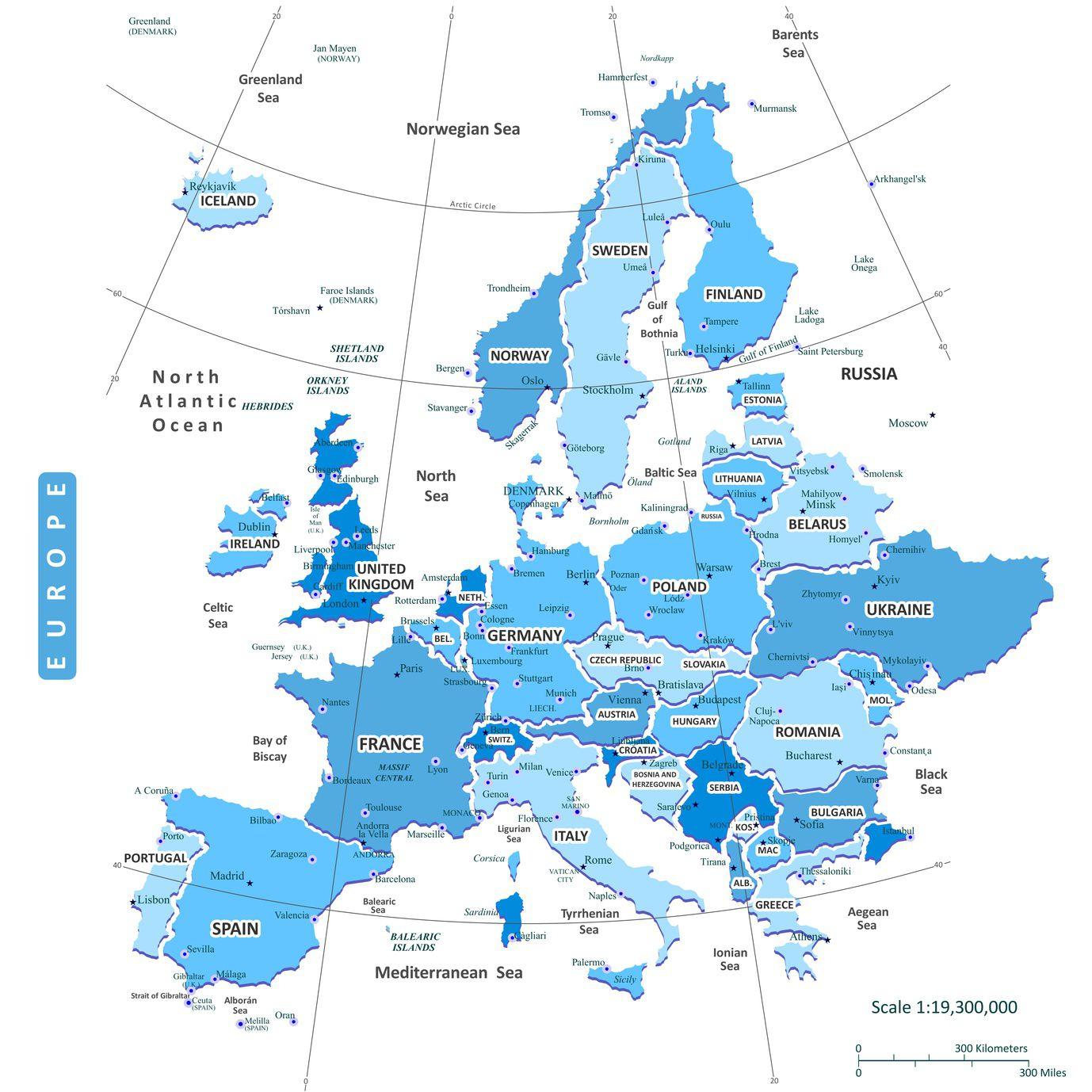 Carte De L'europe - Cartes Reliefs, Villes, Pays, Euro, Ue pour Union Européenne Carte Vierge