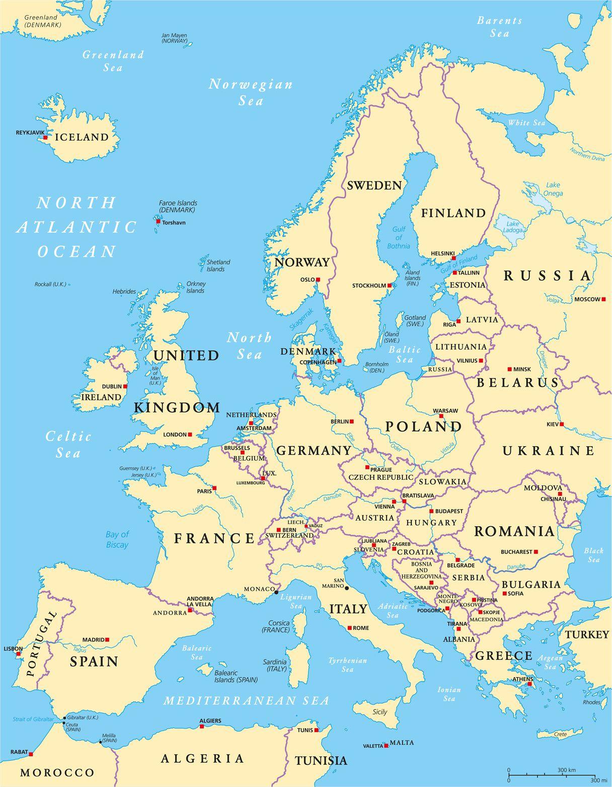 Carte De L'europe - Cartes Reliefs, Villes, Pays, Euro, Ue serapportantà Carte Fleuve Europe Vierge