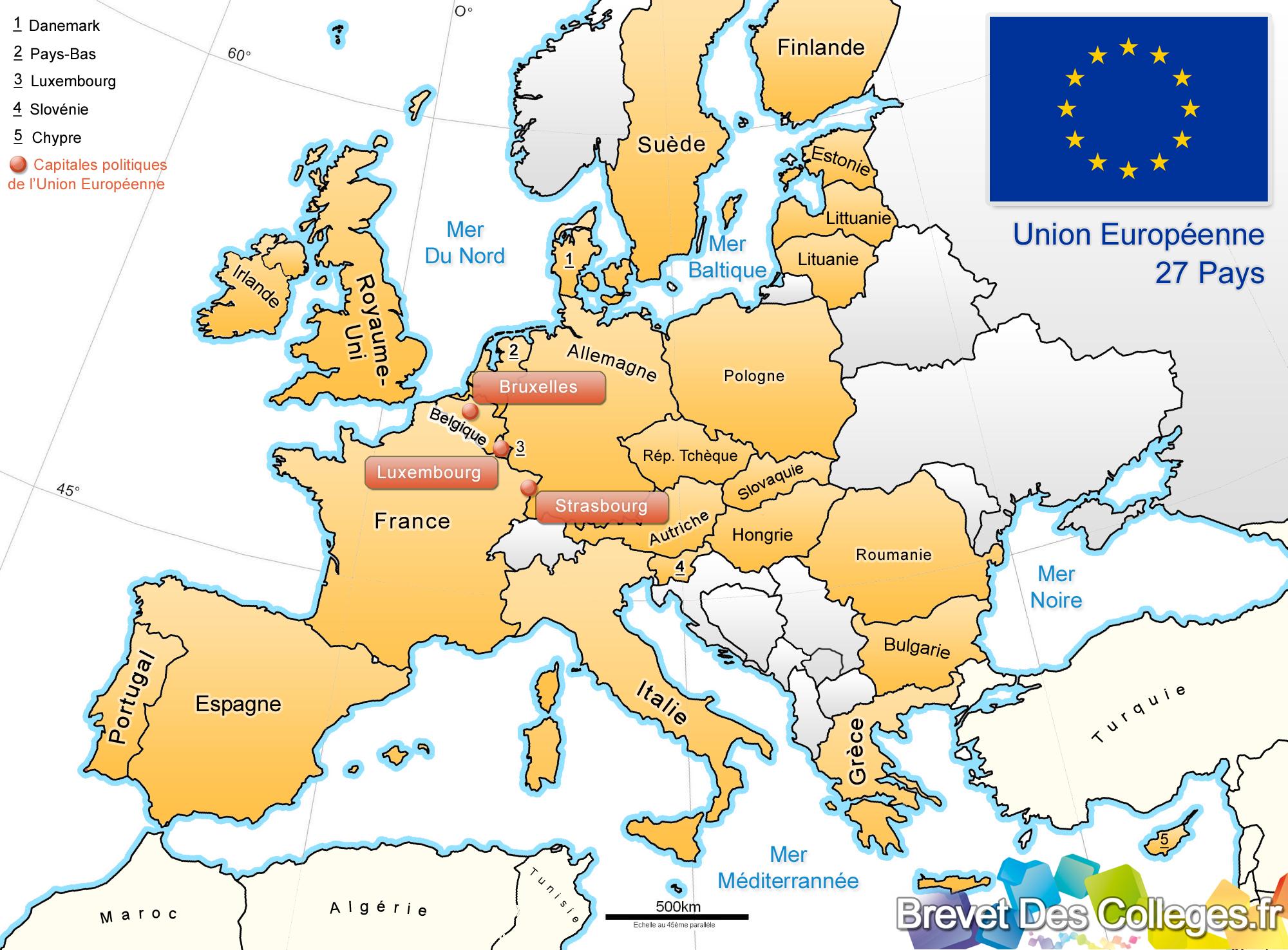 Carte De L'europe - Union Européenne dedans Nom Des Pays De L Union Européenne