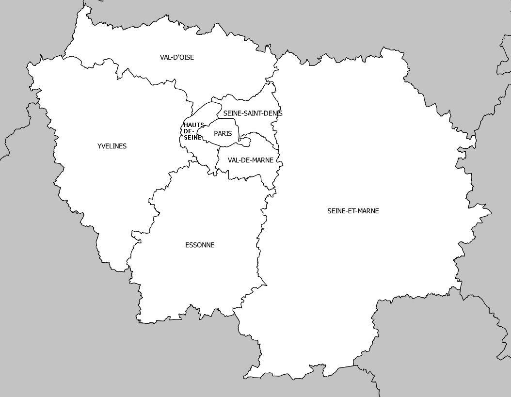 Carte De L'île-De-France - Île-De-France Carte Des Villes encequiconcerne Carte Des Départements D Ile De France