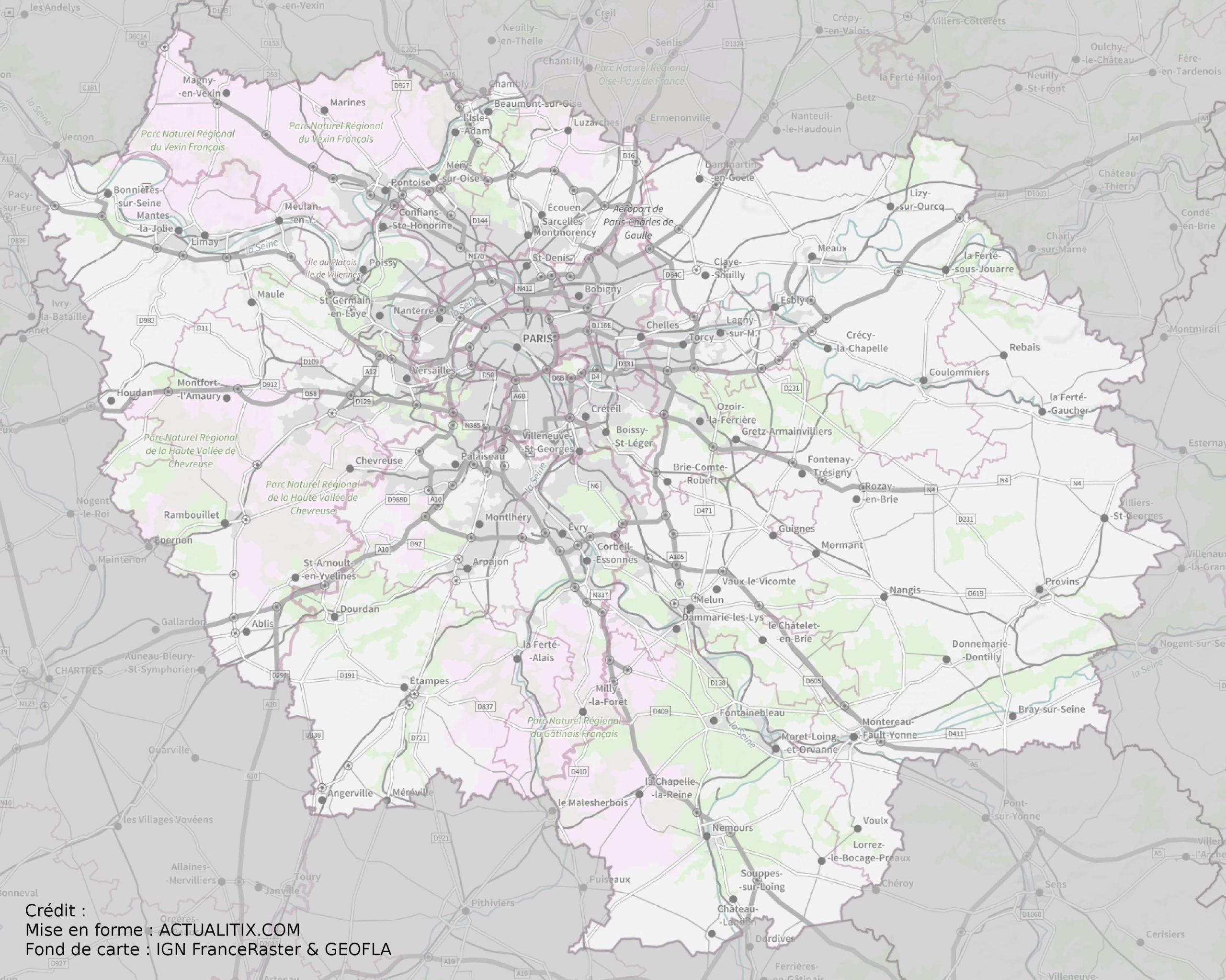 Carte De L'île-De-France - Île-De-France Carte Des Villes encequiconcerne Fond De Carte France Fleuves