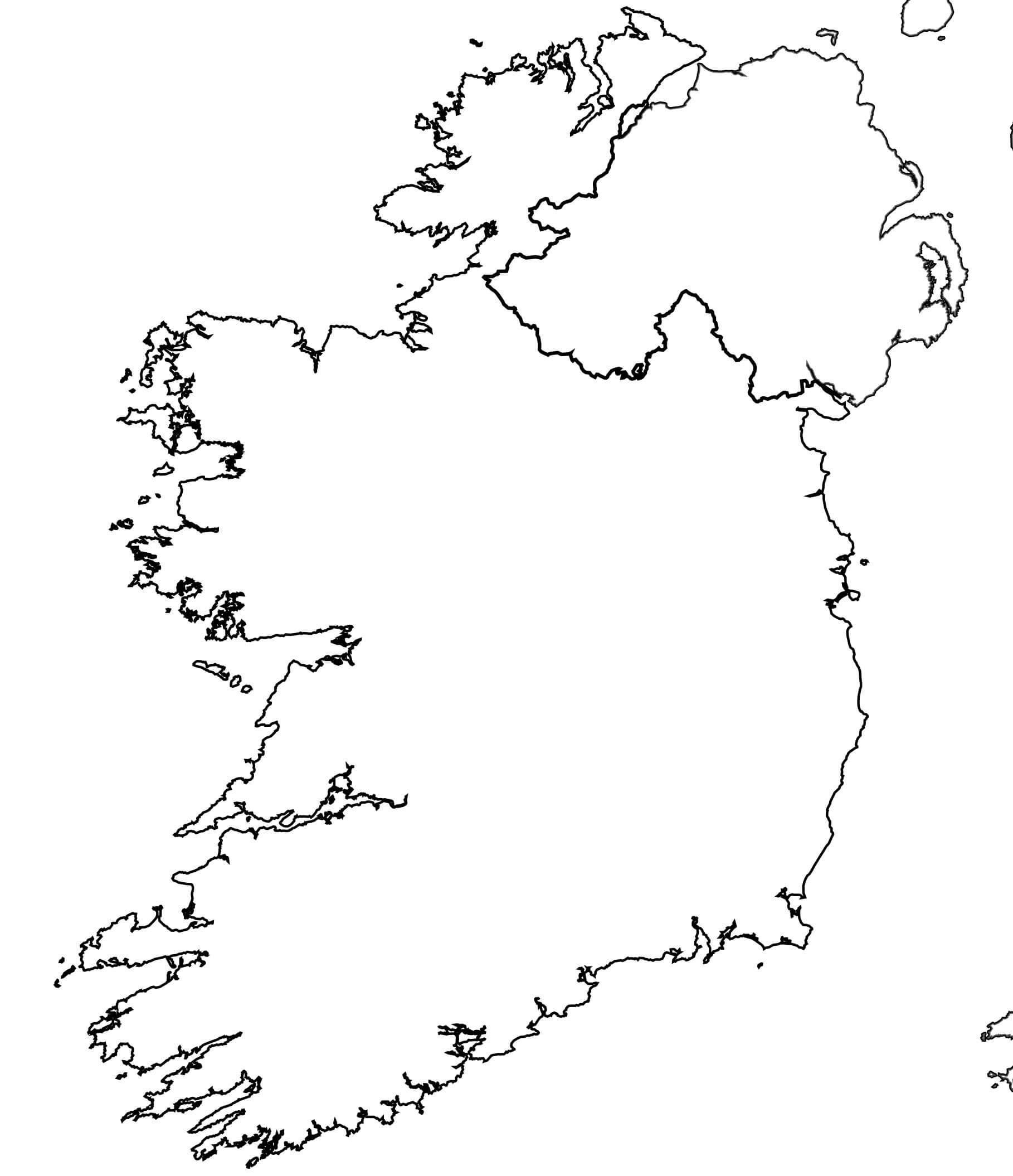 Carte De L'irlande pour Carte Vierge À Imprimer