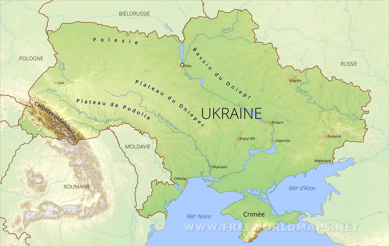Carte De Ukraine pour Carte Des Fleuves
