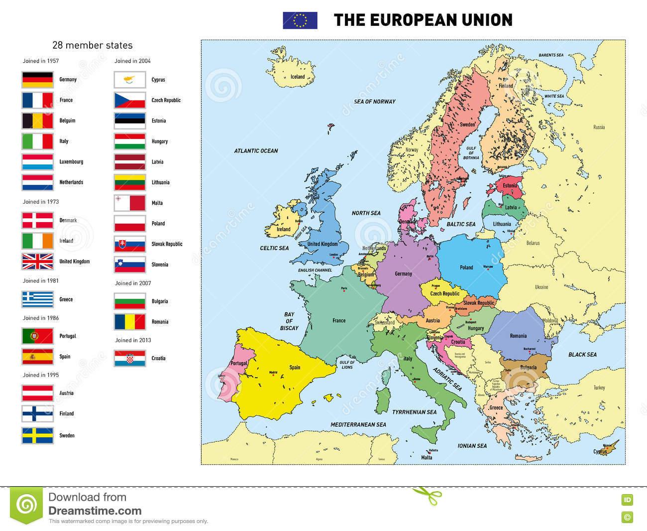 Carte De Vecteur De L'union Européenne Illustration De concernant Capital De L Union Européenne