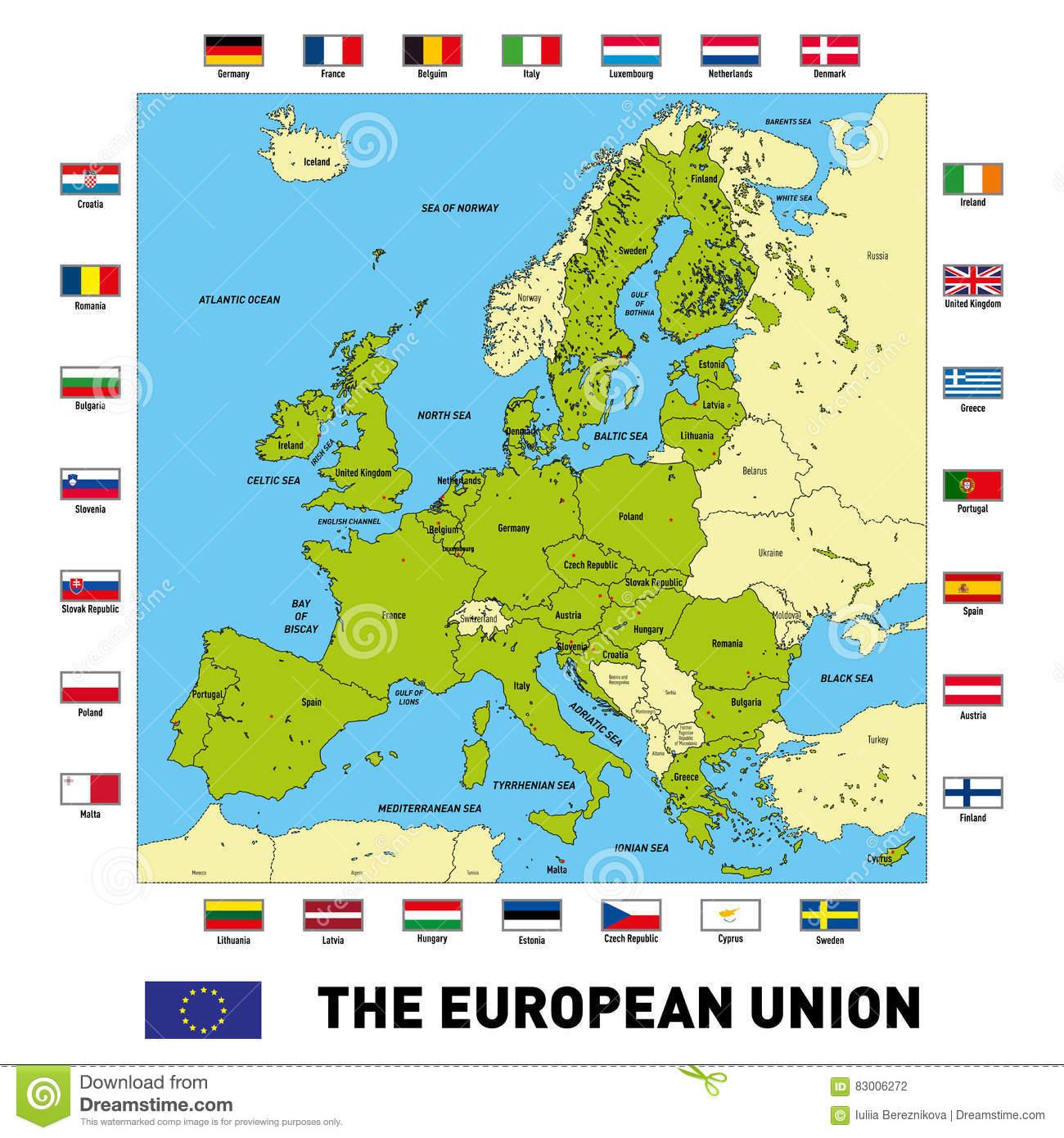 Carte De Vecteur De L'union Européenne Illustration De intérieur Capital De L Union Européenne