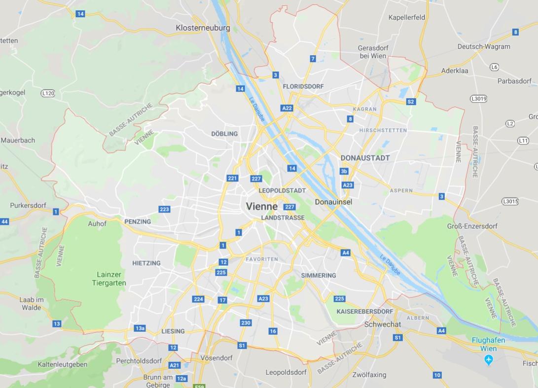Carte De Vienne En Autriche - Plusieurs Cartes De La Ville destiné Placer Des Villes Sur Une Carte