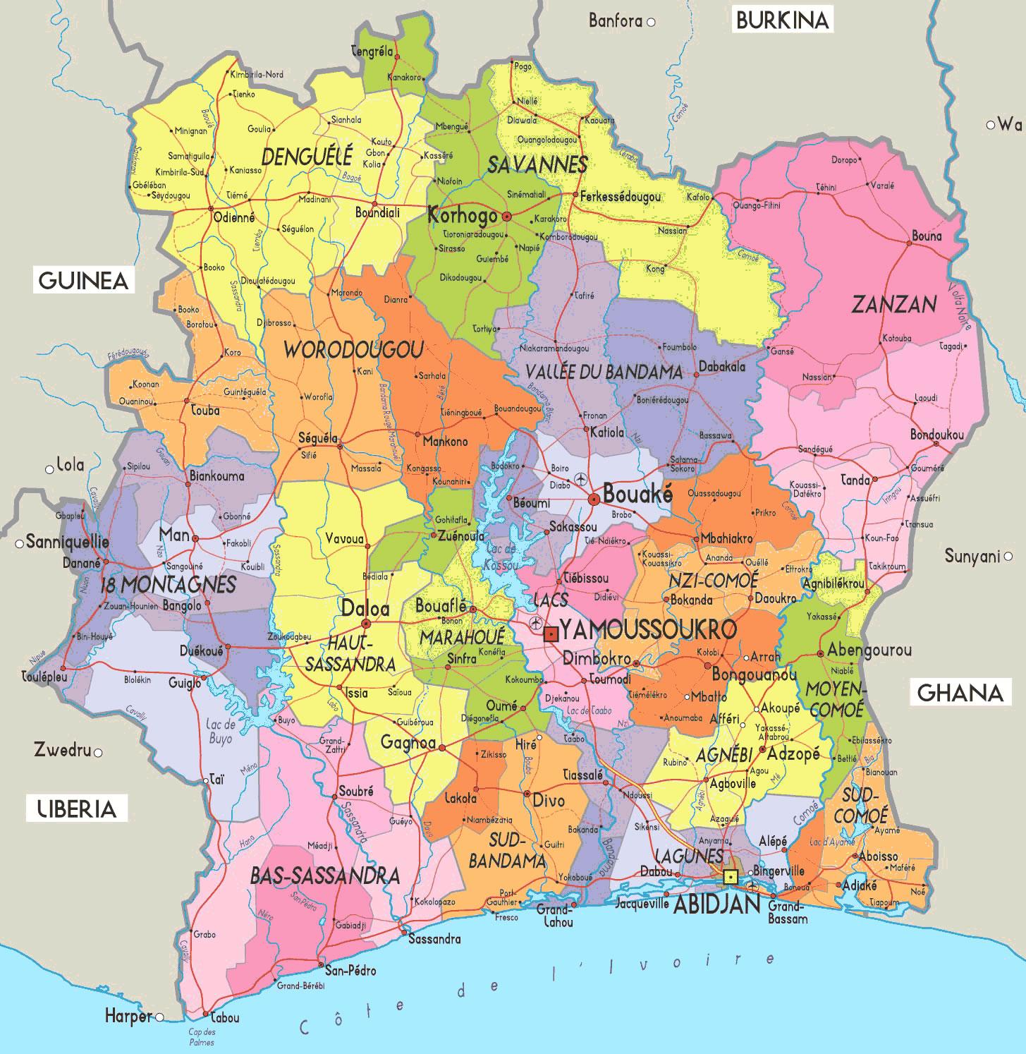 Carte Départements Côte D'ivoire, Carte Des Départements De tout Carte Des Départements Et Villes