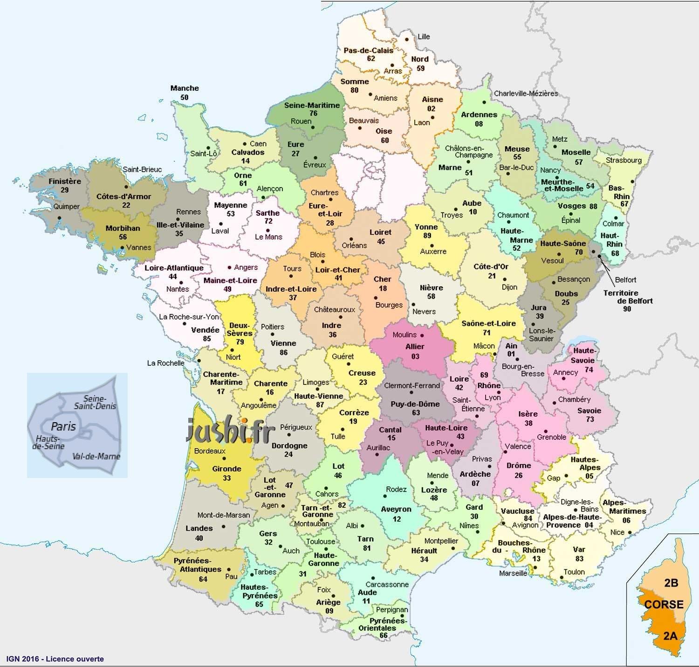 Carte-Départements-Distance Entre 2 Villes - 40.a pour Carte De France Avec Villes Et Départements