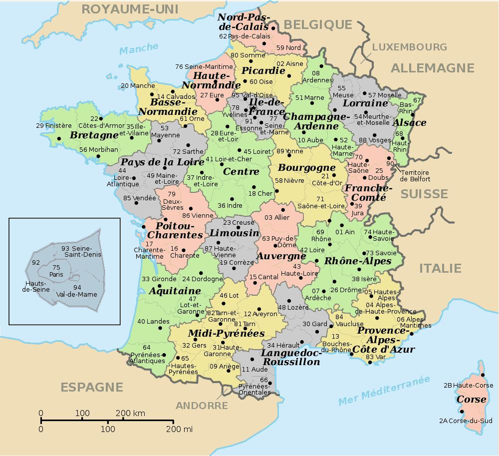 Carte-Departements-Et-Regions-De-France | Gilles-Sinquin tout Carte De France Par Régions Et Départements