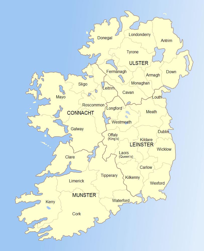 Carte Départements Irlande, Carte Des Départements De Irlande avec Carte Des Départements Et Villes