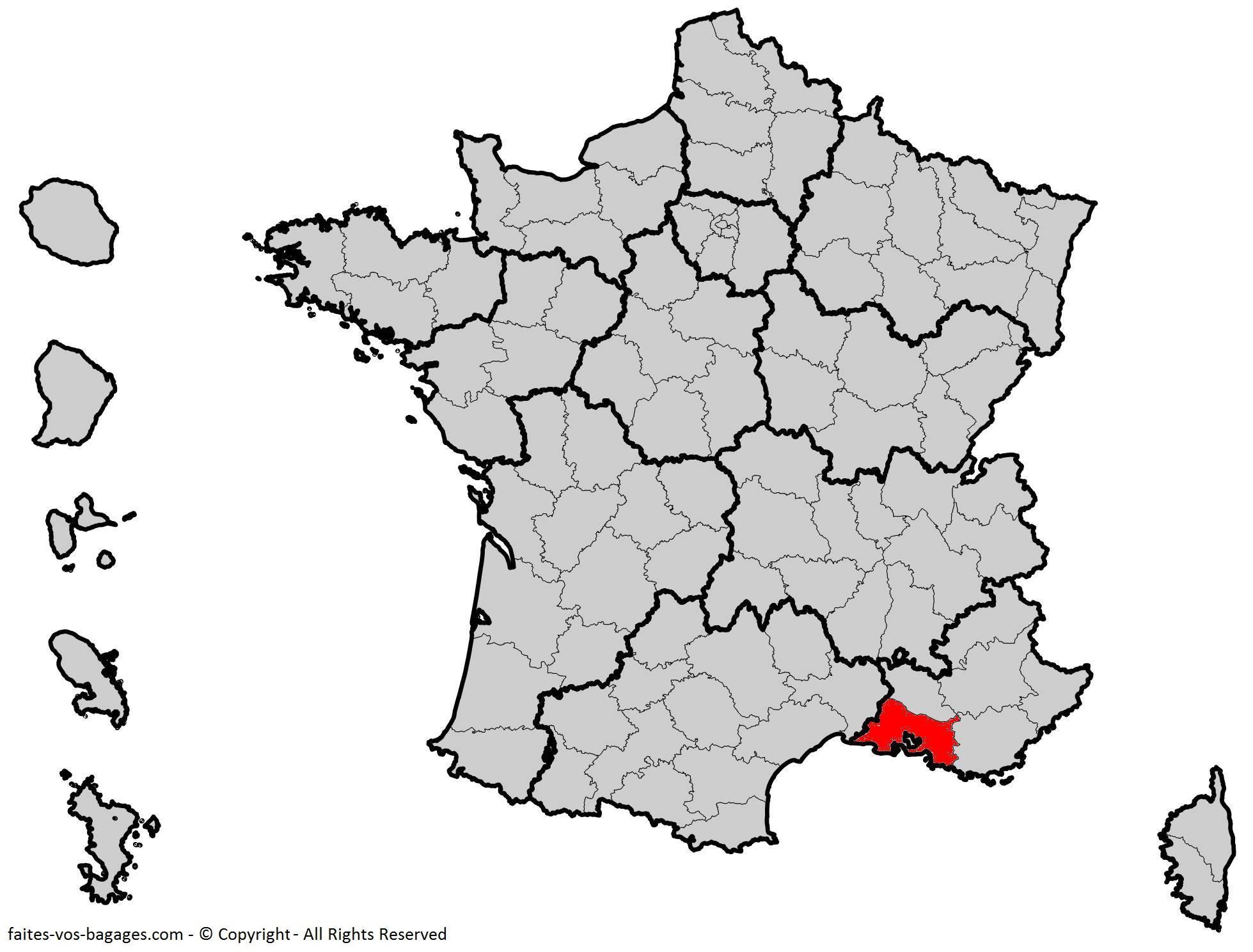 Carte Des Bouches-Du-Rhône - Communes, Détaillée, Relief avec Carte Departement 13
