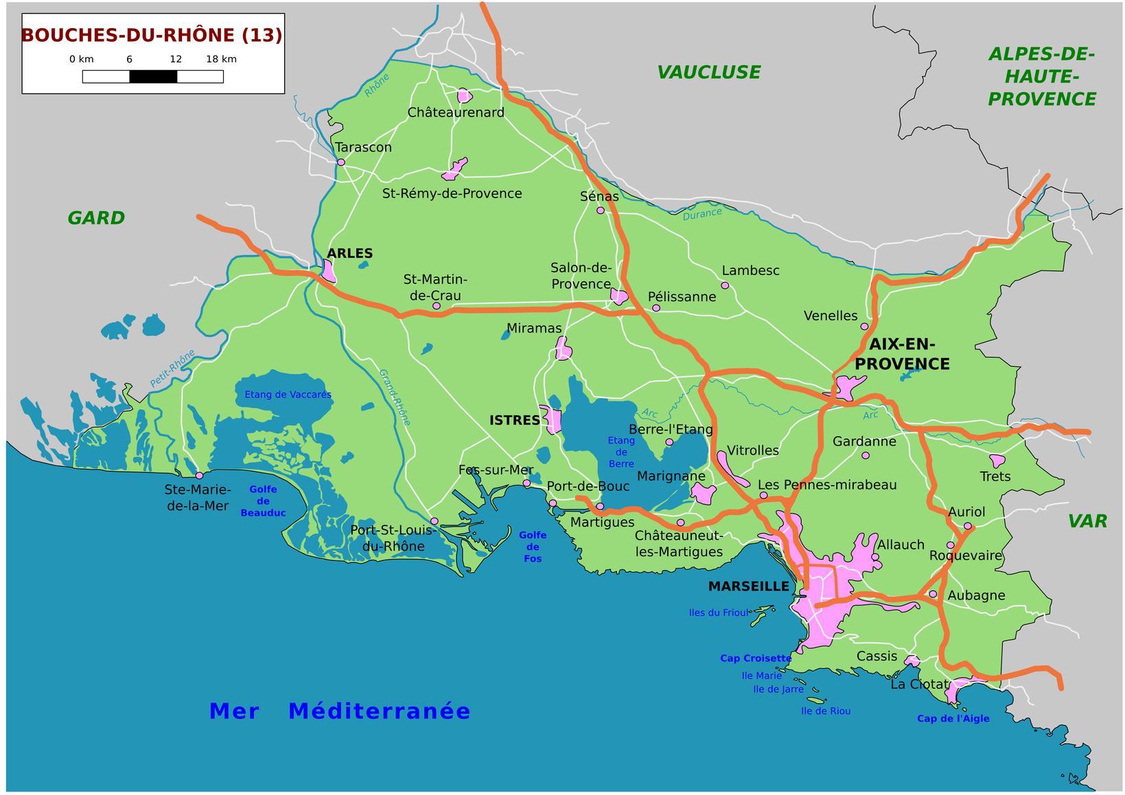 Carte Des Bouches-Du-Rhône - Communes, Détaillée, Relief avec Carte Du Sud Est De La France Détaillée