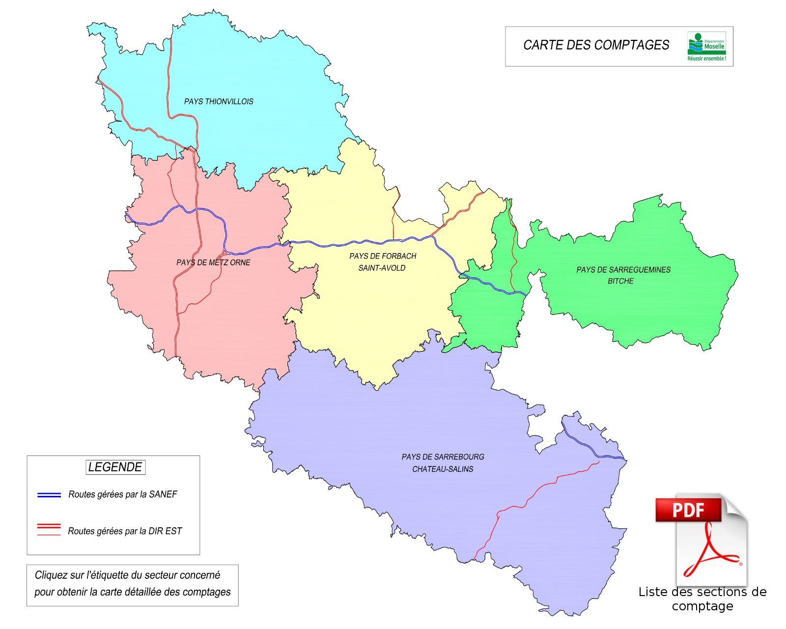 Carte Des Comptages avec Département 57 Carte