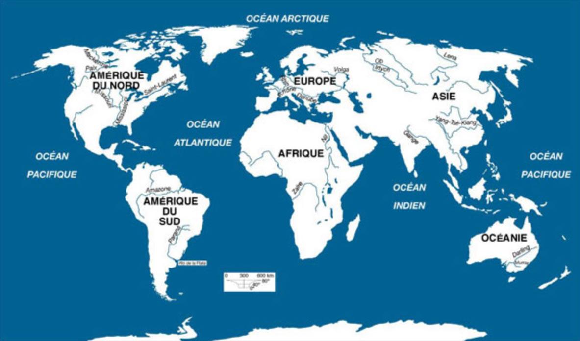 Carte Des Fleuves Du Monde, Carte Du Monde serapportantà Carte Des Fleuves