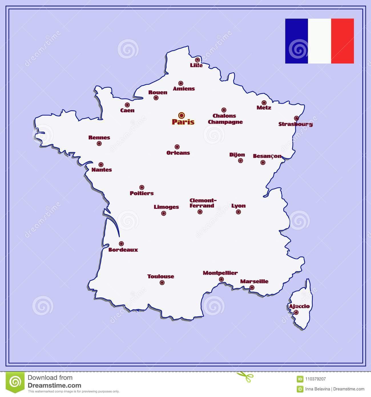 Carte Des Frances Avec De Grandes Villes Illustration Stock pour Carte De La France Avec Les Grandes Villes
