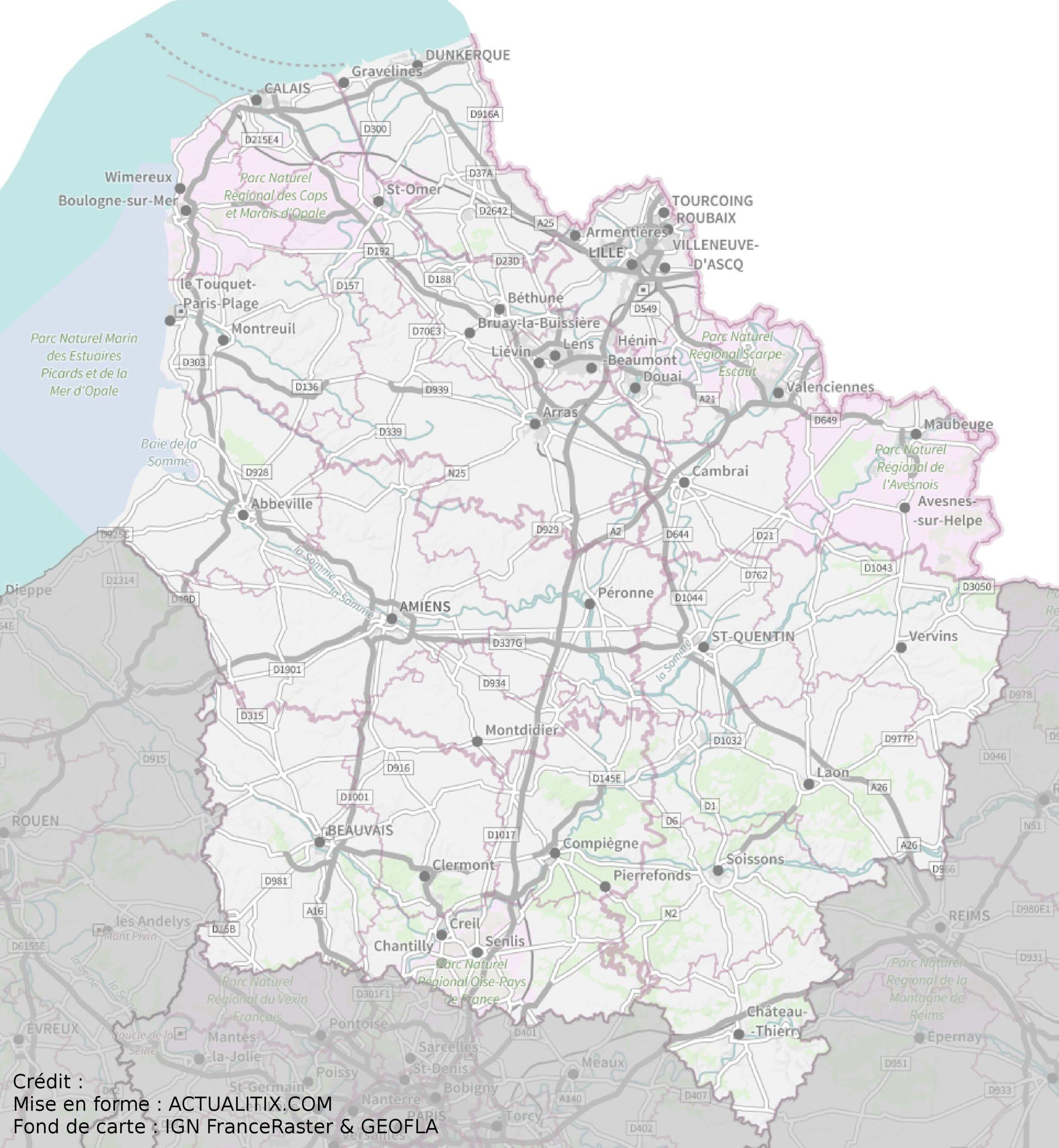 Carte Des Hauts-De-France - Hauts-De-France Carte Des Villes encequiconcerne Carte Du Sud Est De La France Détaillée