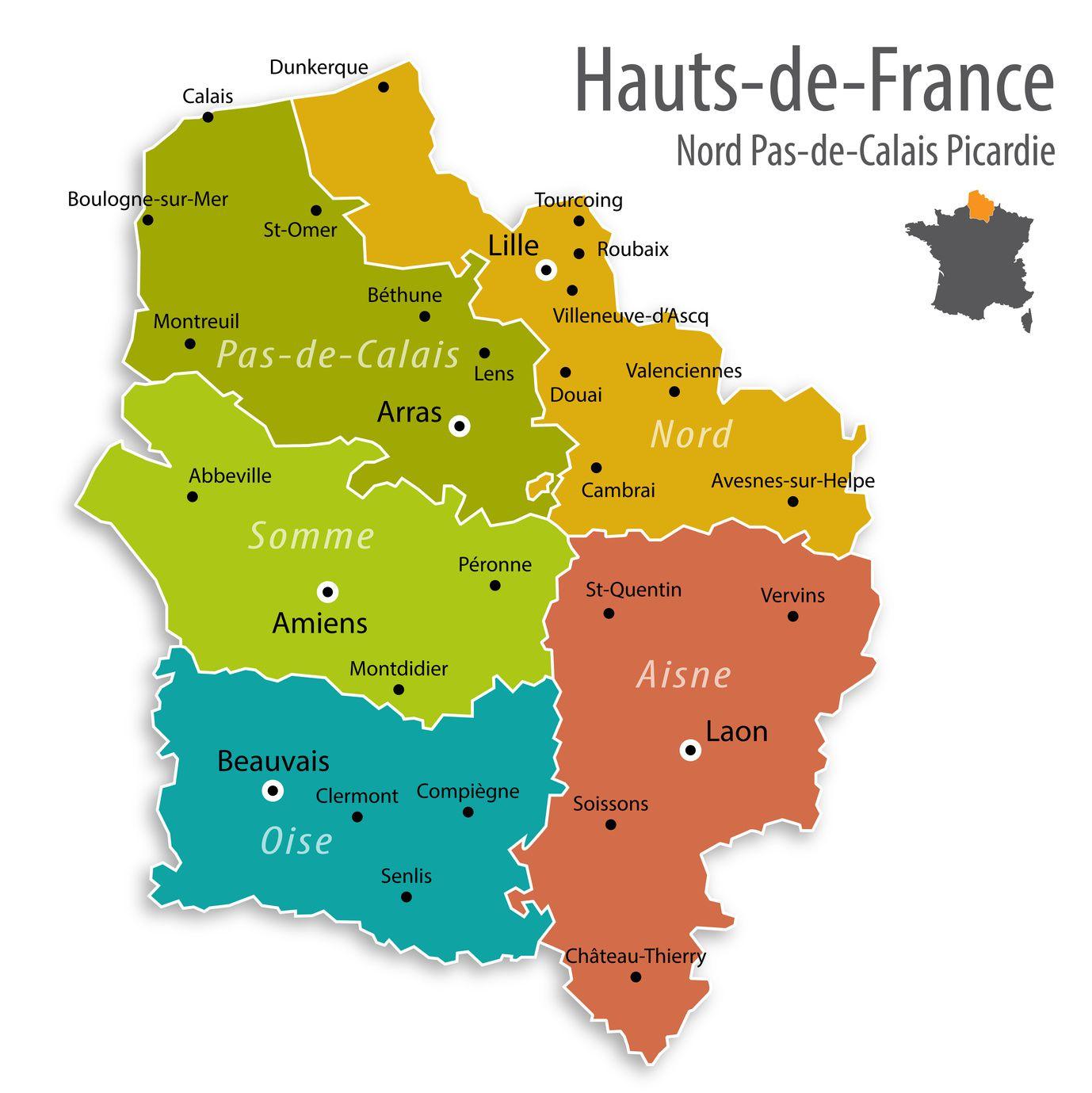 Carte Des Hauts-De-France - Hauts-De-France Carte Des Villes serapportantà Grande Carte De France