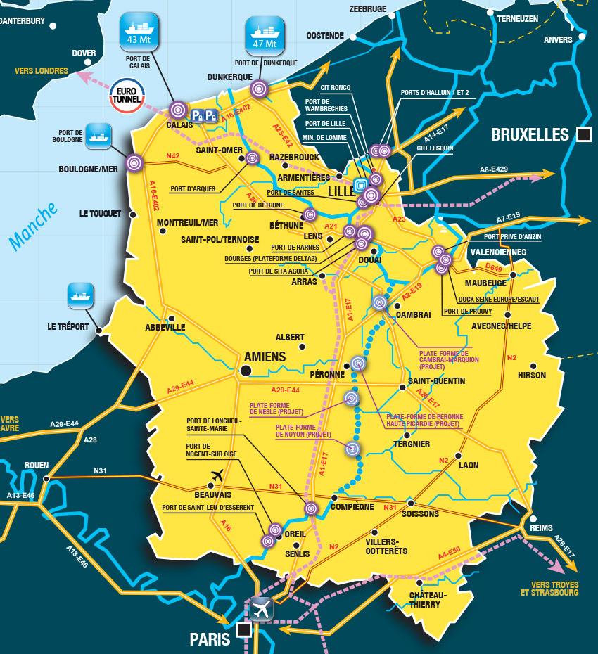 Carte Des Hubs – Euralogistic destiné Voir La Carte De France