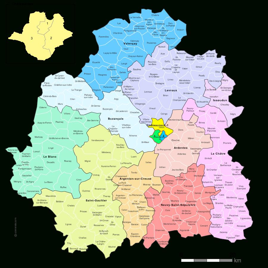 Carte Des Nouveaux Cantons De L'indre Avec Villes Et Communes pour Carte Departement 13
