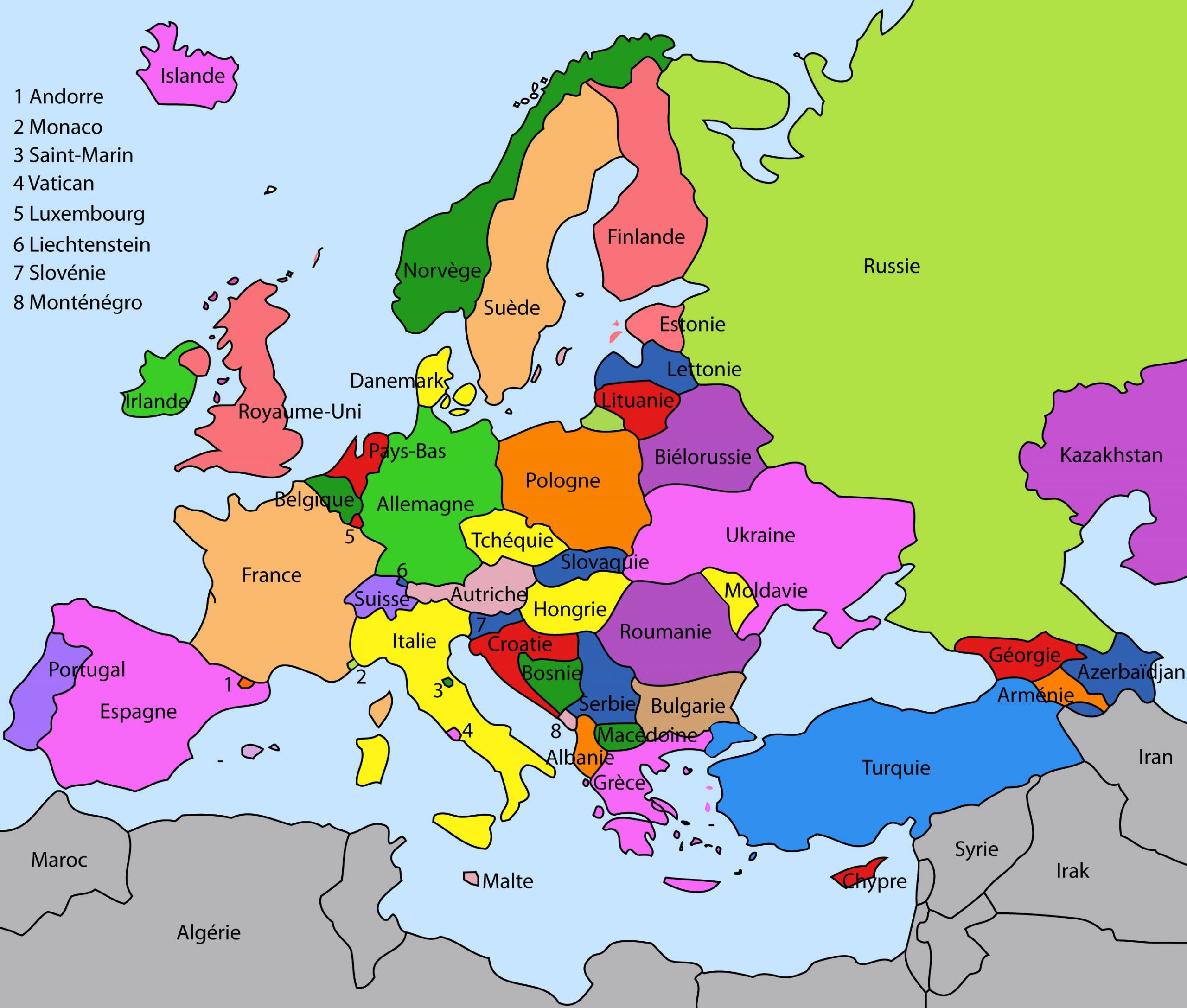 Carte Des Pays De L'europe | Carte Europe, Carte Europe Pays intérieur Carte De L Europe En Relief
