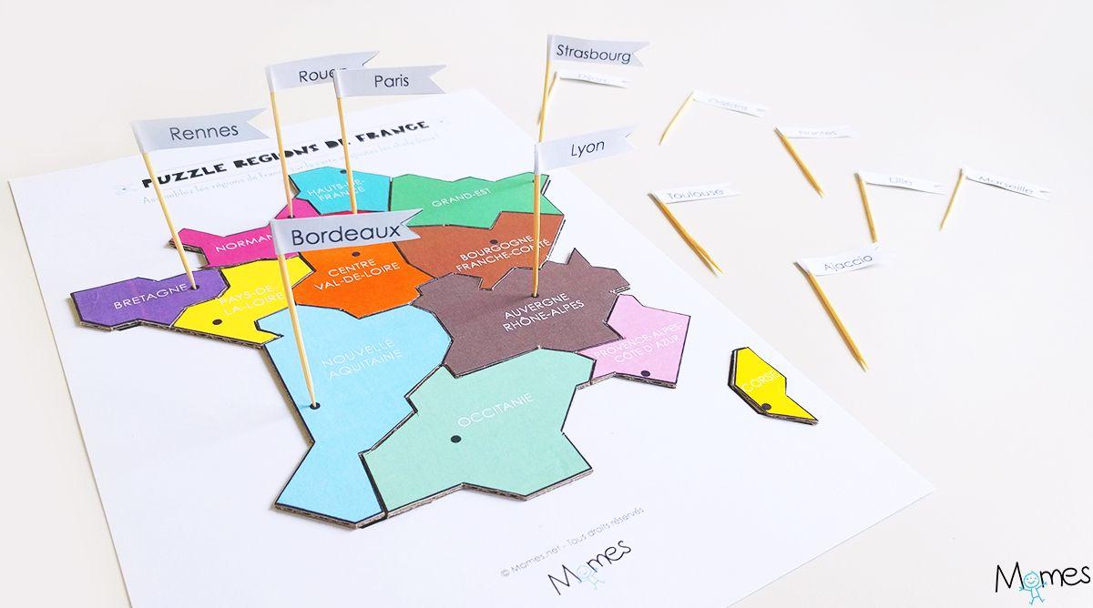 Carte Des Régions De France À Imprimer En Puzzle ! | Carte pour Jeu Geographie France