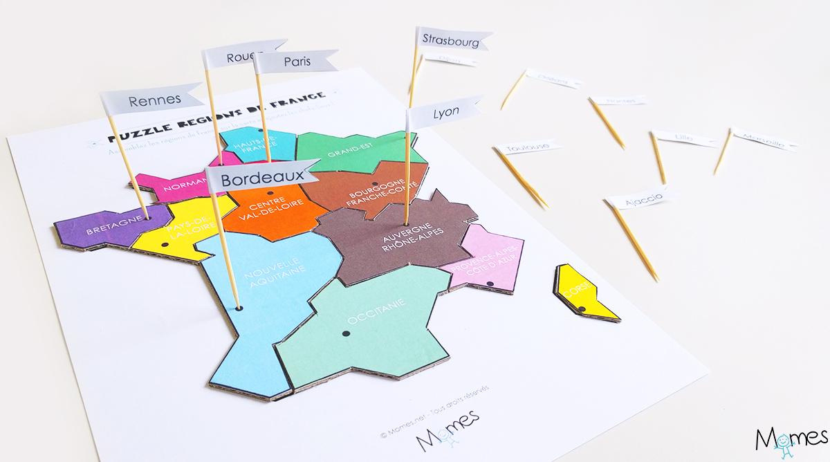 Carte Des Régions De France À Imprimer En Puzzle ! - Momes intérieur Carte De France Département À Colorier