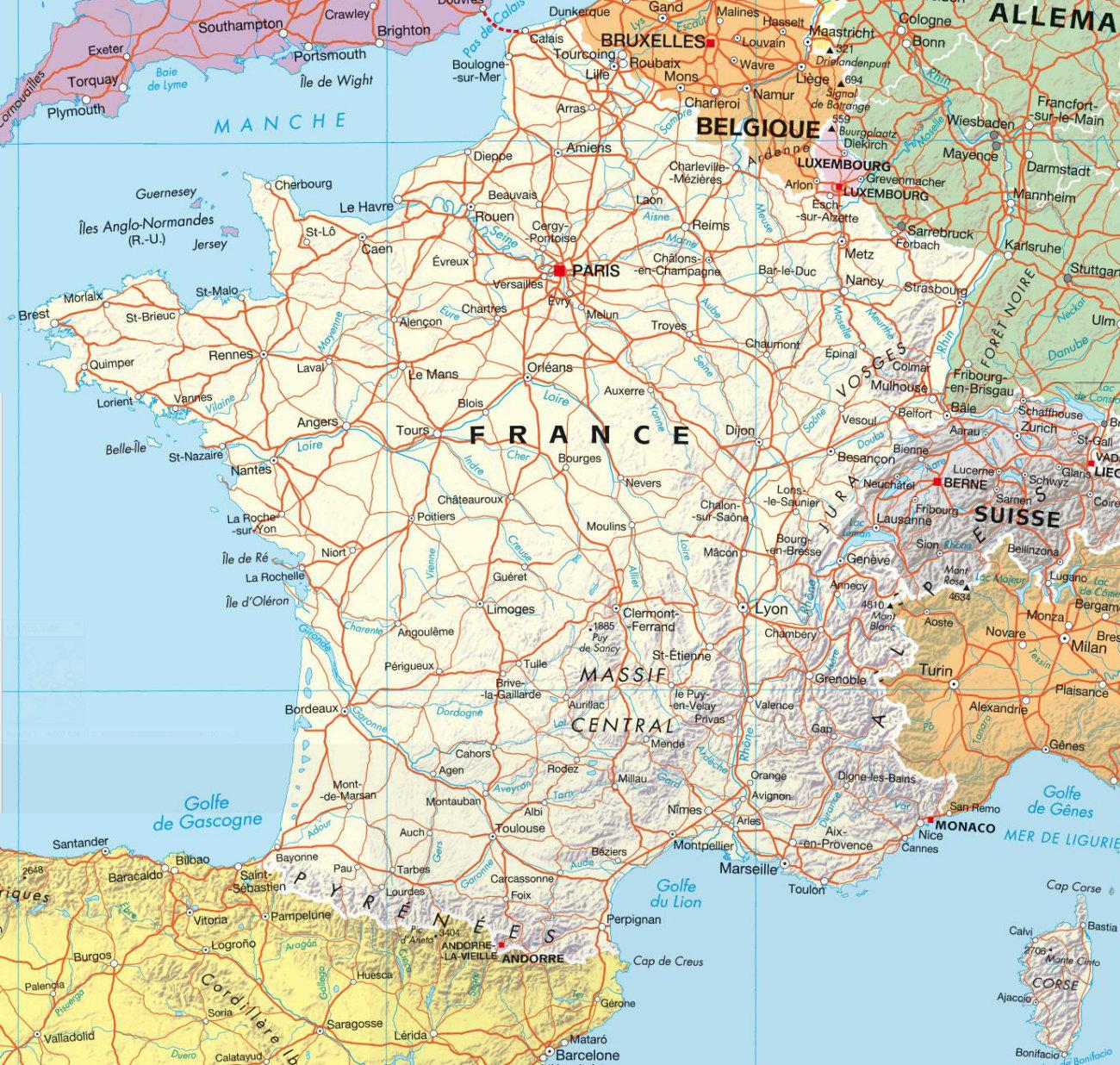 Carte Des Villes De France intérieur Carte De La France Avec Toutes Les Villes