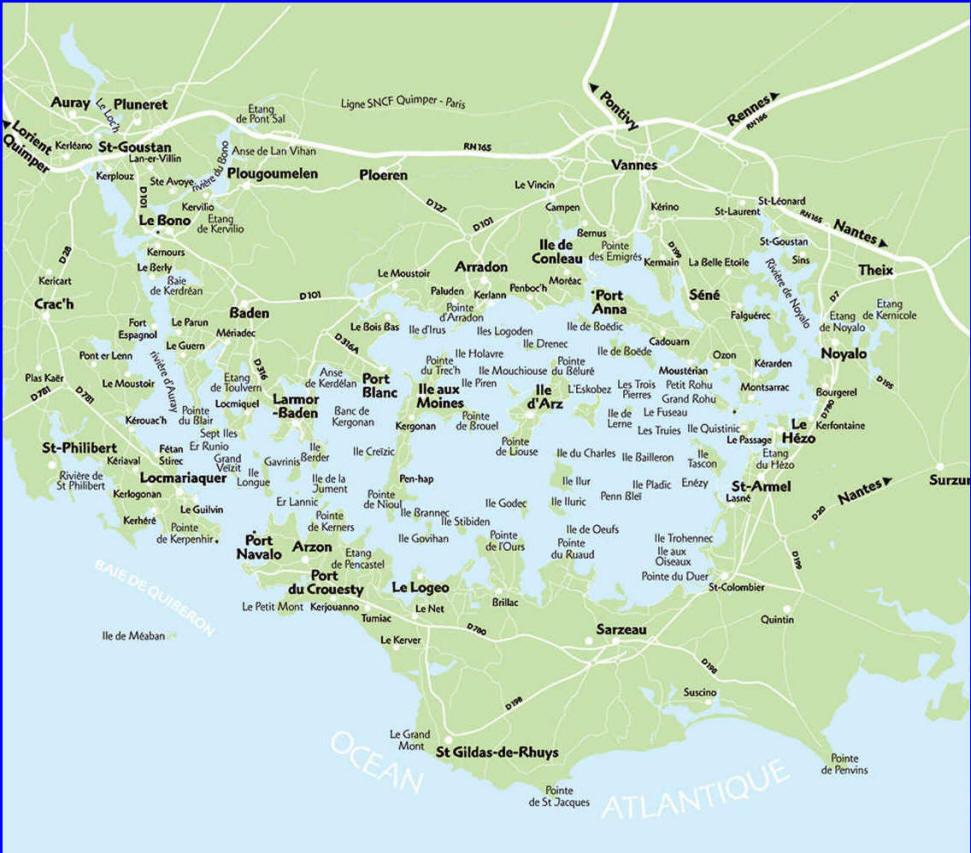 Carte Détaillée Du Golfe Du Morbihan Et Des Ses Île serapportantà Carte Du Sud De La France Détaillée