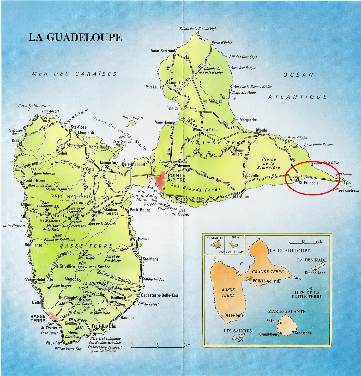 Carte Détaillée Guadeloupe | Guadeloupe Carte, Guadeloupe intérieur Carte Du Sud Est De La France Détaillée