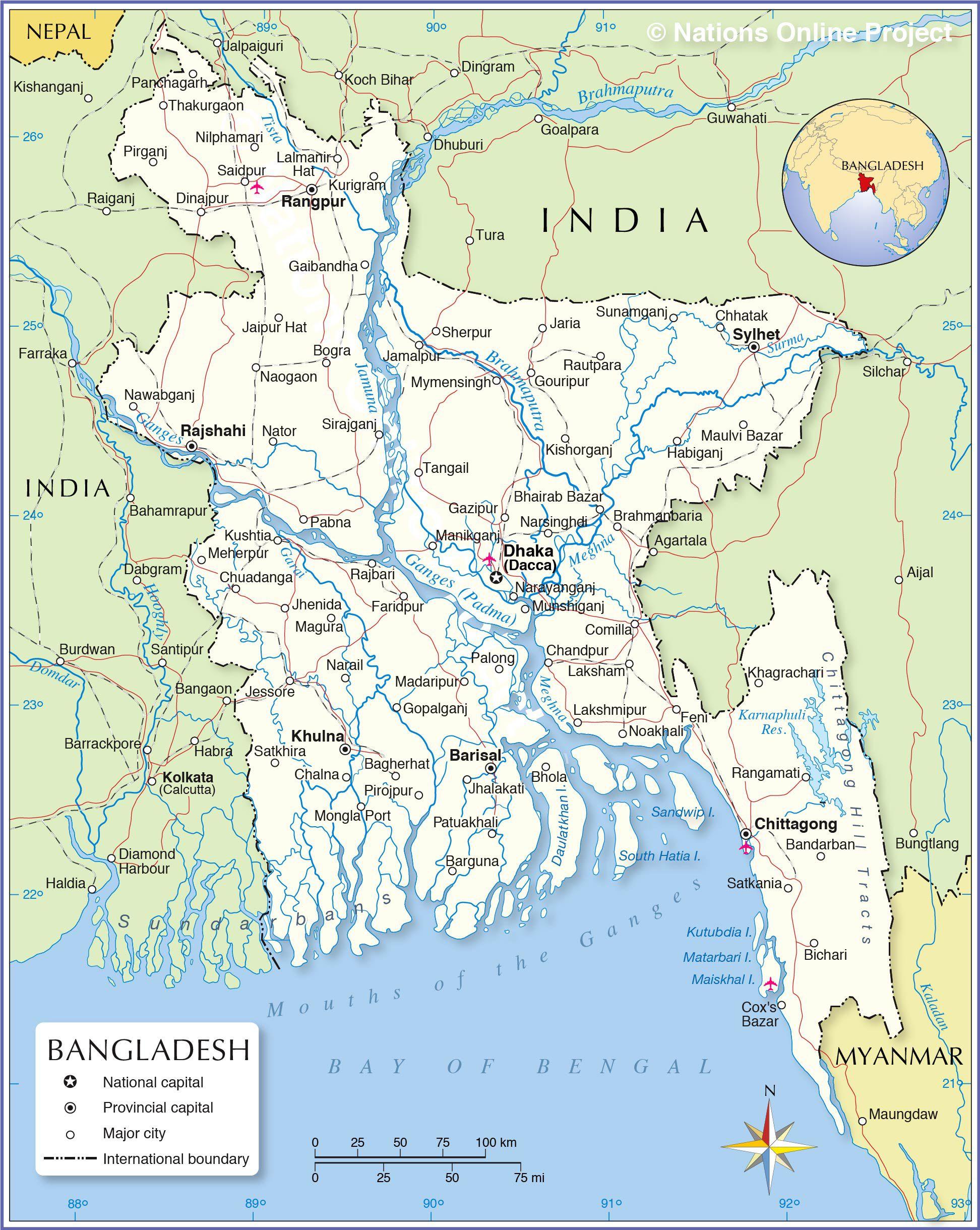 Carte Du Bangladesh - Plusieurs Cartes Du Pays D'asie encequiconcerne Carte Des Fleuves