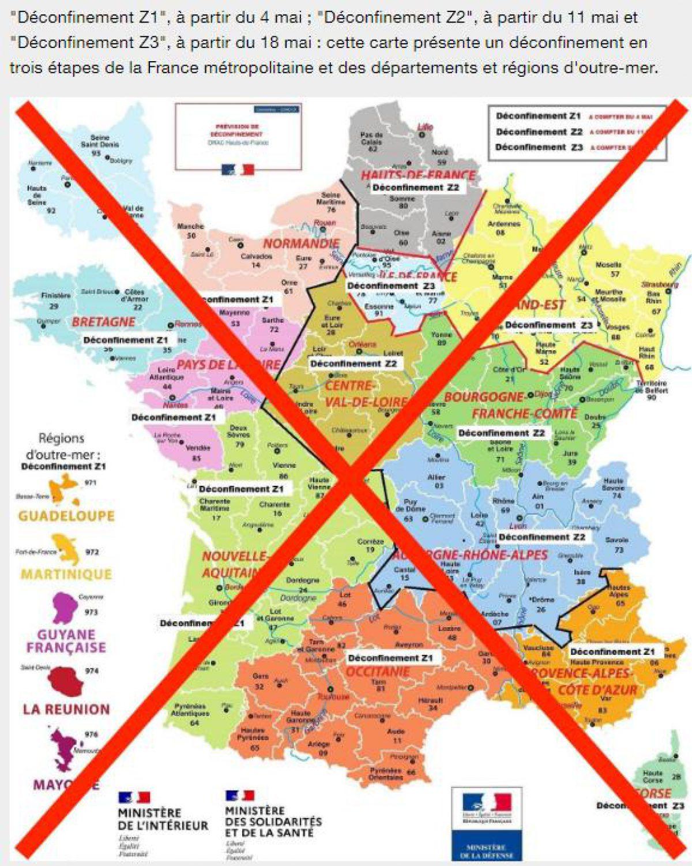 Carte Du Déconfinement Par Départements, Un Faux Alerte La concernant Les Numéros Des Départements