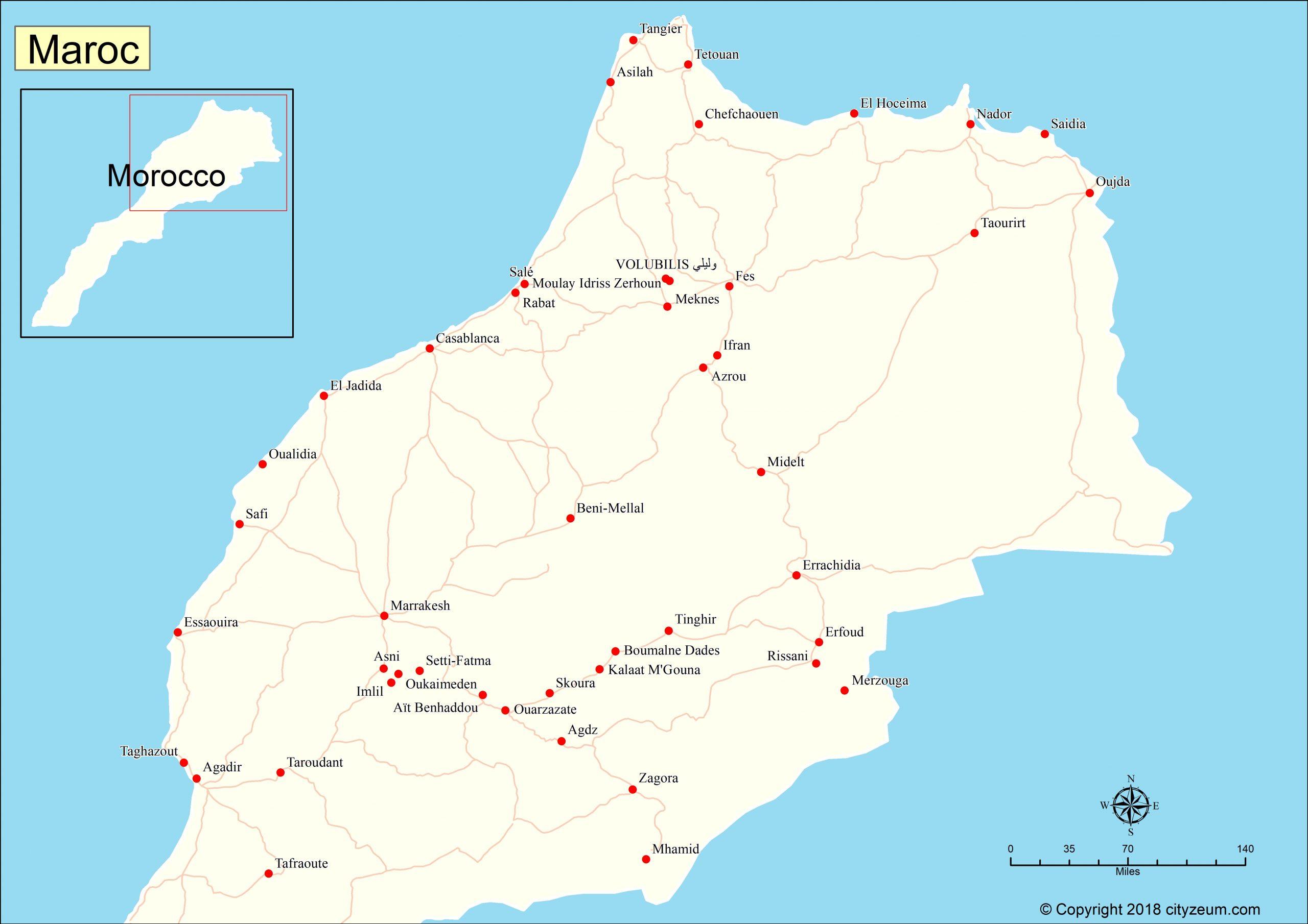 Carte Du Maroc, Plan Des 100 Principaux Lieux pour Carte Du Sud Est De La France Détaillée
