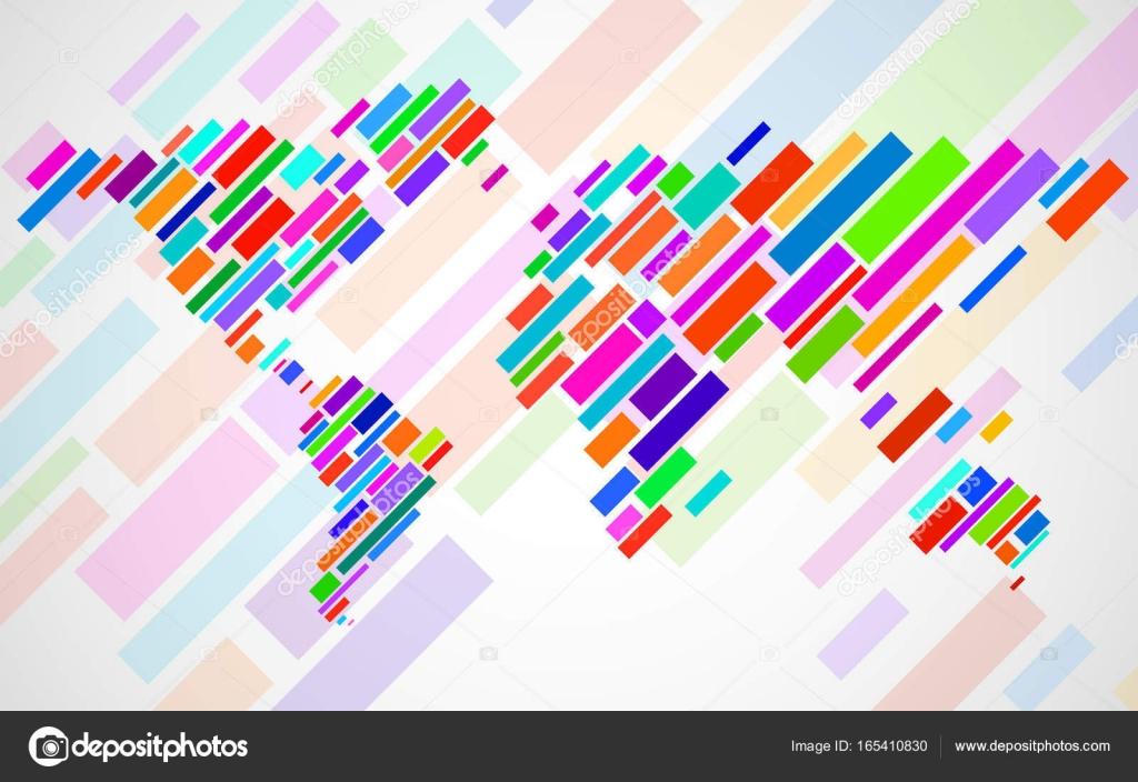 Carte Du Monde Abstrait Avec Des Lignes. Carte De Rayures Du avec Carte Du Monde En Ligne
