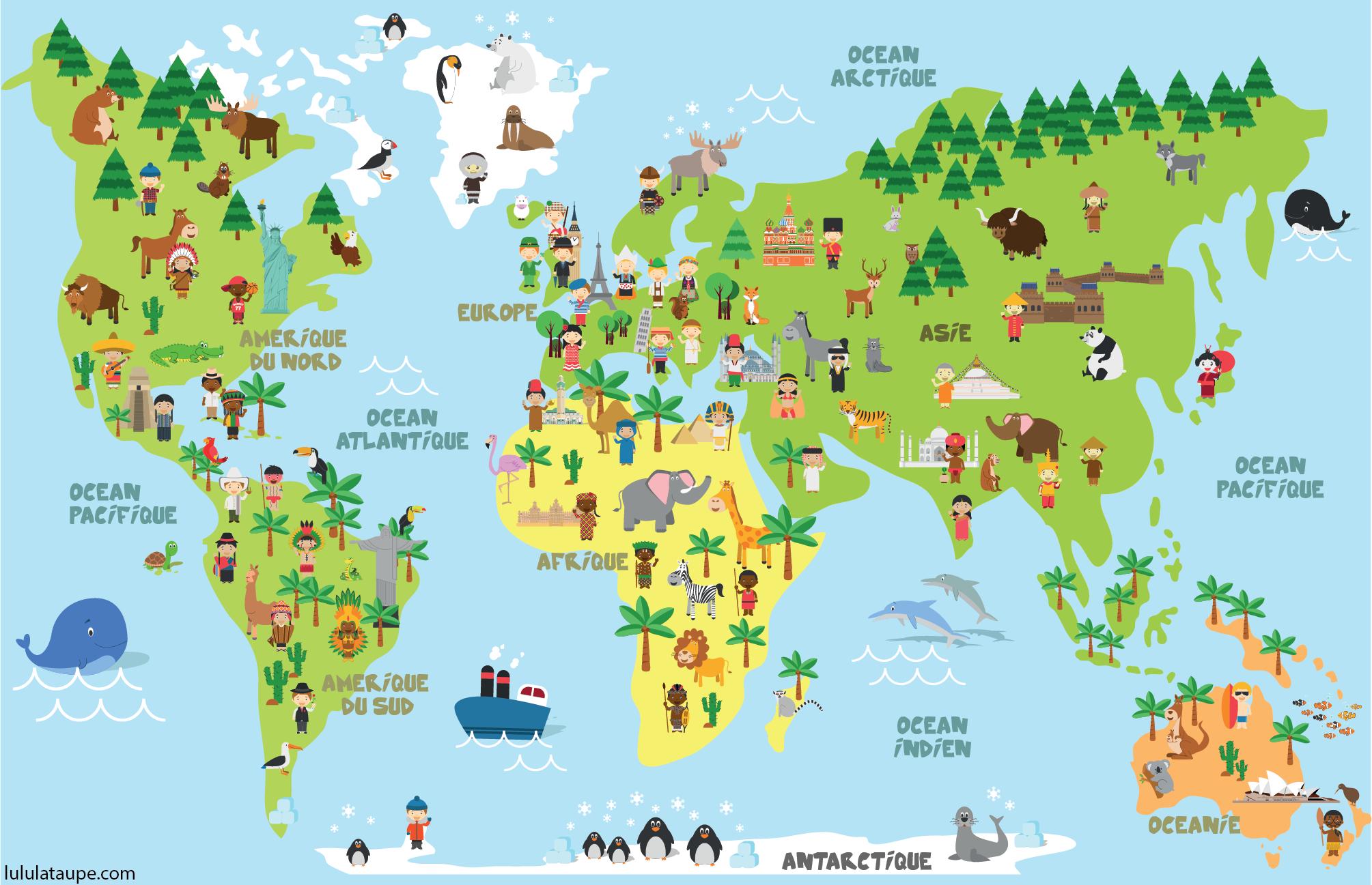Carte Du Monde, Animaux, Monuments Et Enfants Des Différents concernant Jeux De Carte Geographique Du Monde
