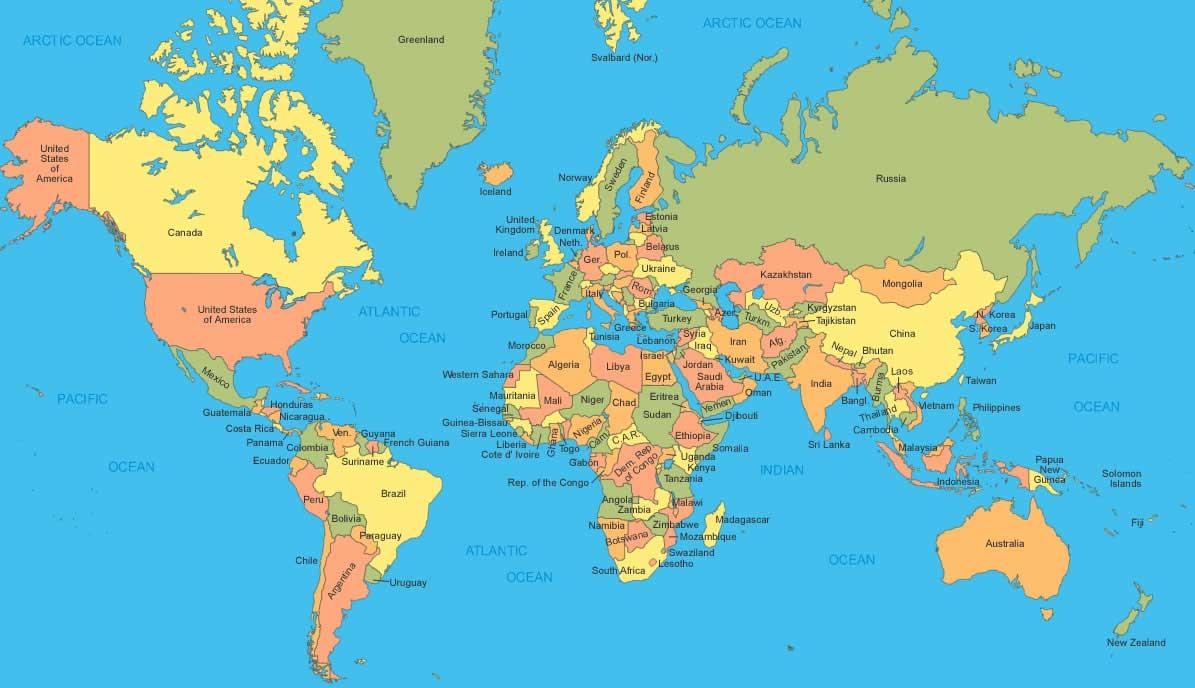 Carte Du Monde - Atlas » Vacances - Arts- Guides Voyages destiné Carte Du Monde Avec Continent