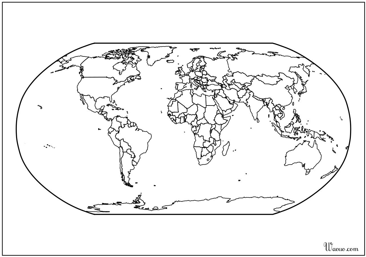 Carte Du Monde Atlas Vierge À Imprimer encequiconcerne Carte De France Vierge A Imprimer