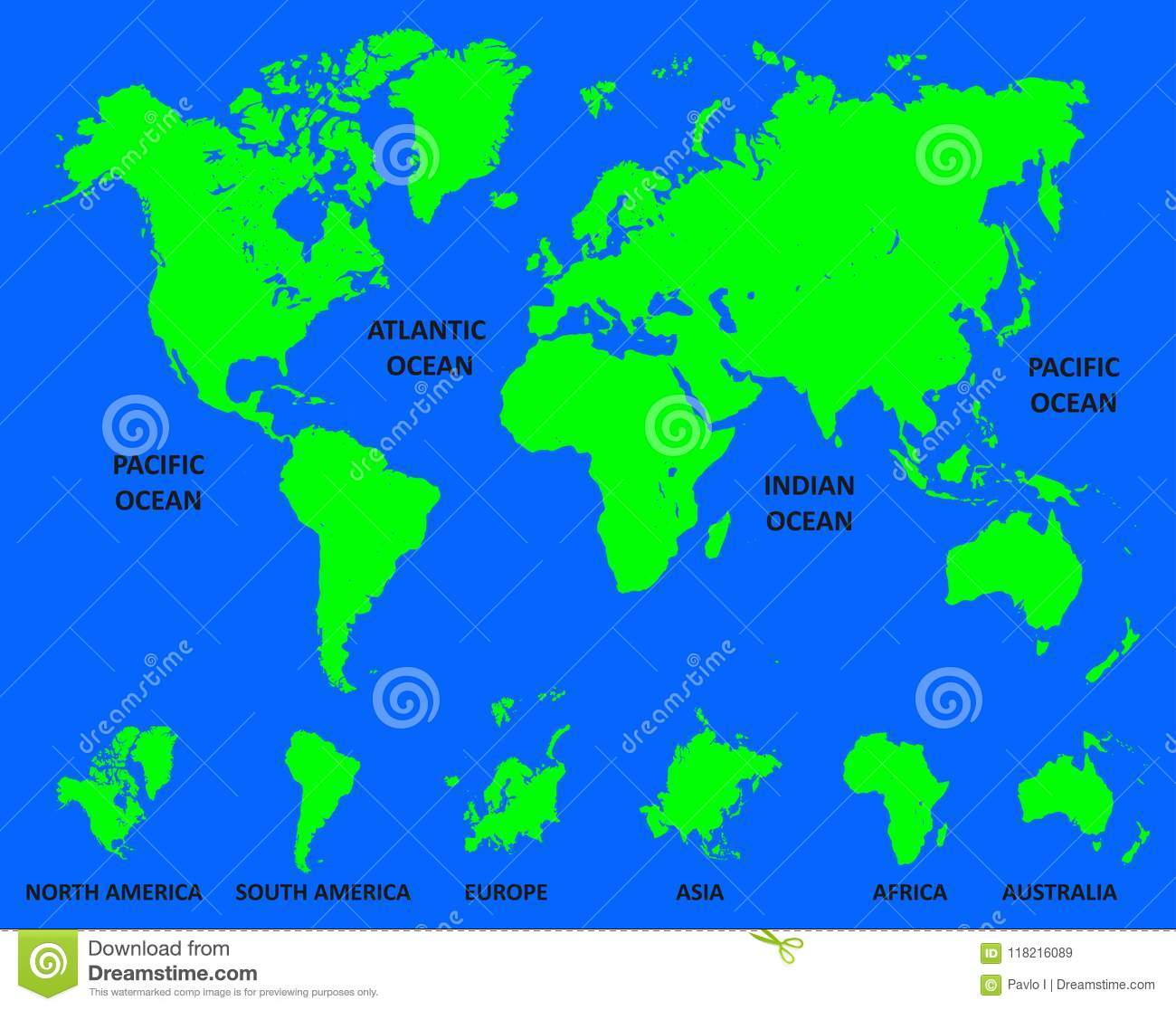 Carte Du Monde Avec La Division Du Continent - Vecteur pour Carte Du Monde Avec Continent