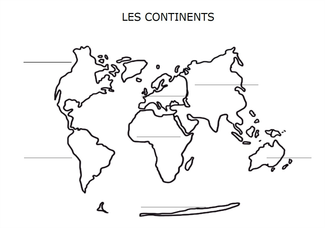 Carte Du Monde Avec Les Continents À Compléter concernant Carte De France Muette À Compléter