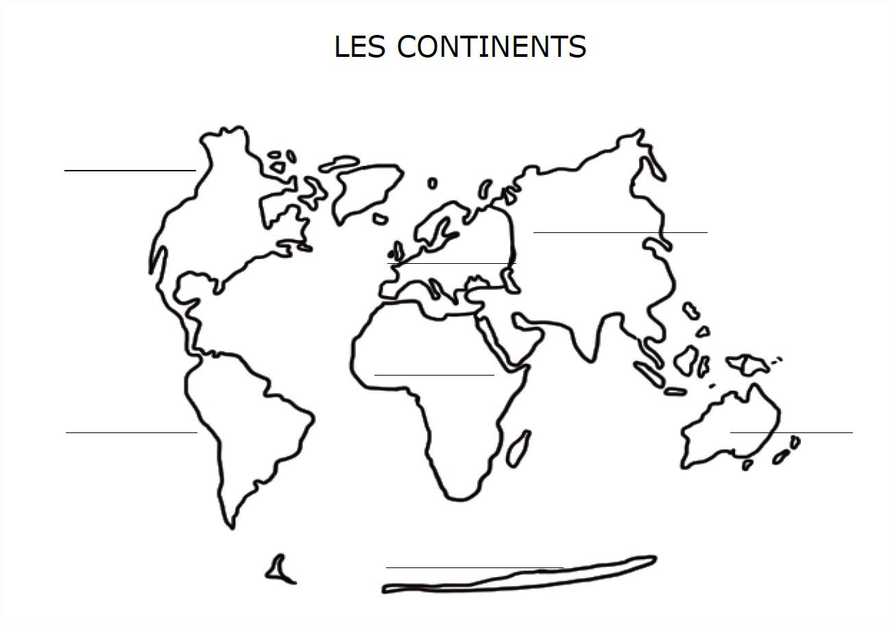 Carte Du Monde Avec Les Continents À Compléter concernant Carte Vierge À Imprimer