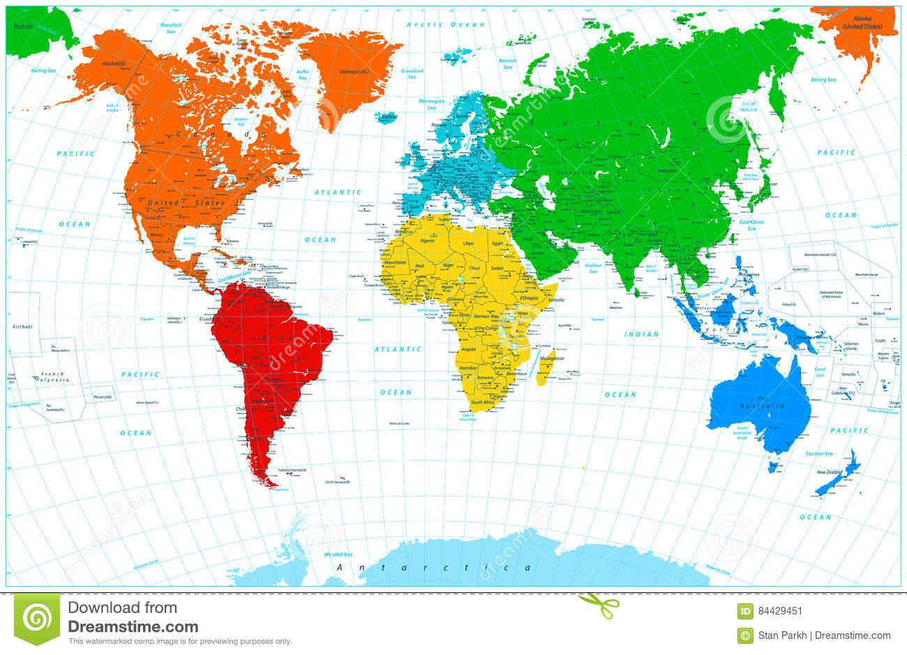 Carte Du Monde Avec Les Continents Colorés Illustration De dedans Carte Du Monde Avec Continent