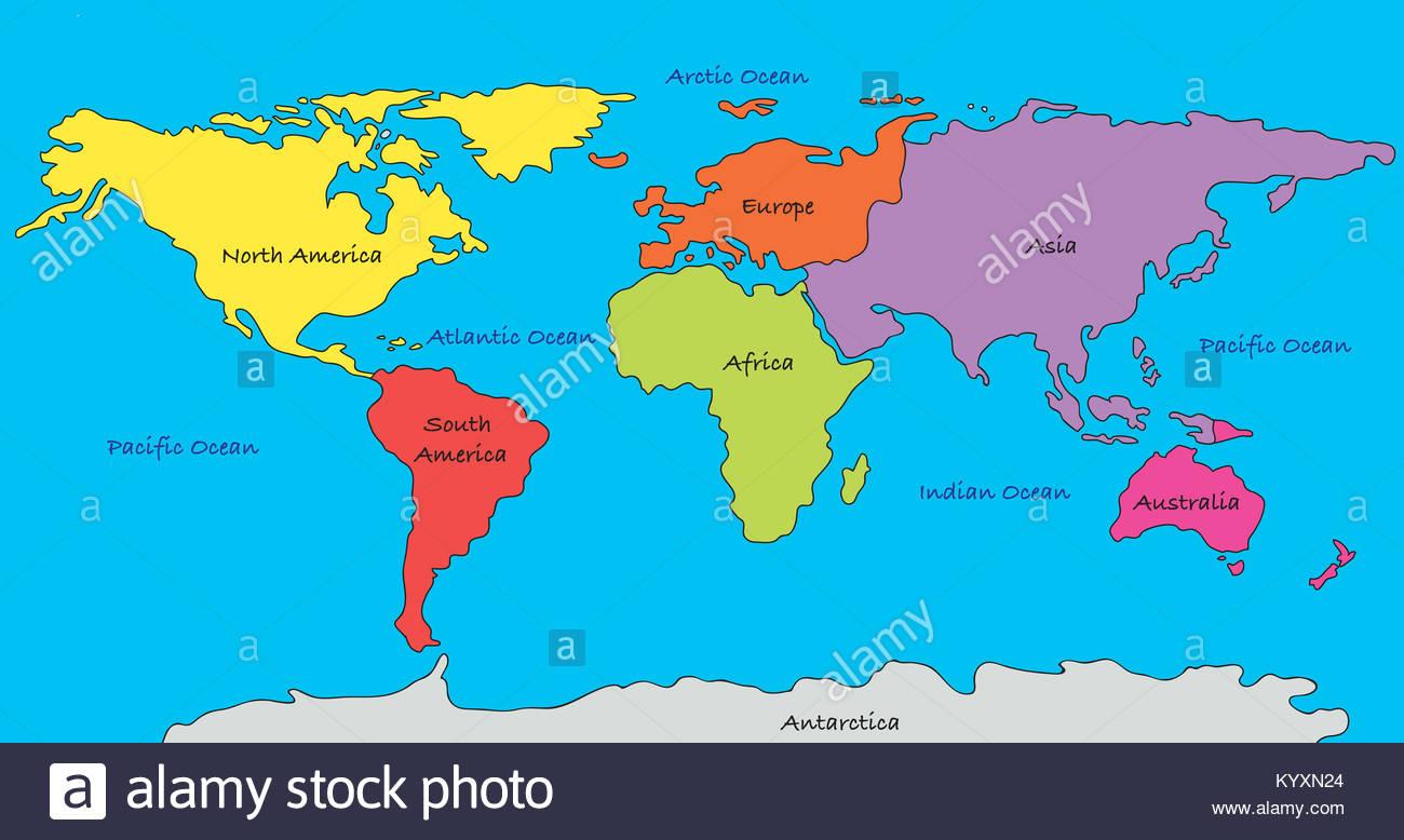 Carte Du Monde Avec Les Continents En Différentes Couleurs serapportantà Carte Du Monde Avec Continent