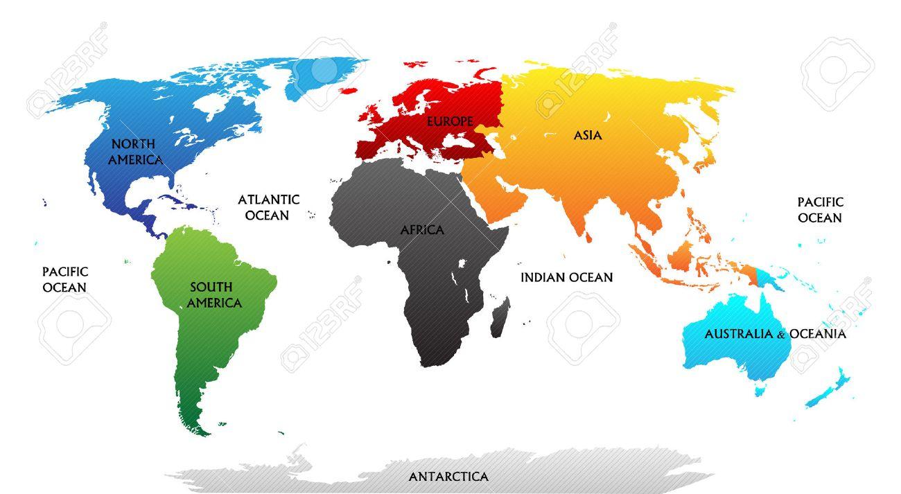 Carte Du Monde Avec Les Continents En Fonction Des Couleurs Toutes Les  Étiquettes Sont Dans La Couche Séparée tout Carte Du Monde Avec Continent