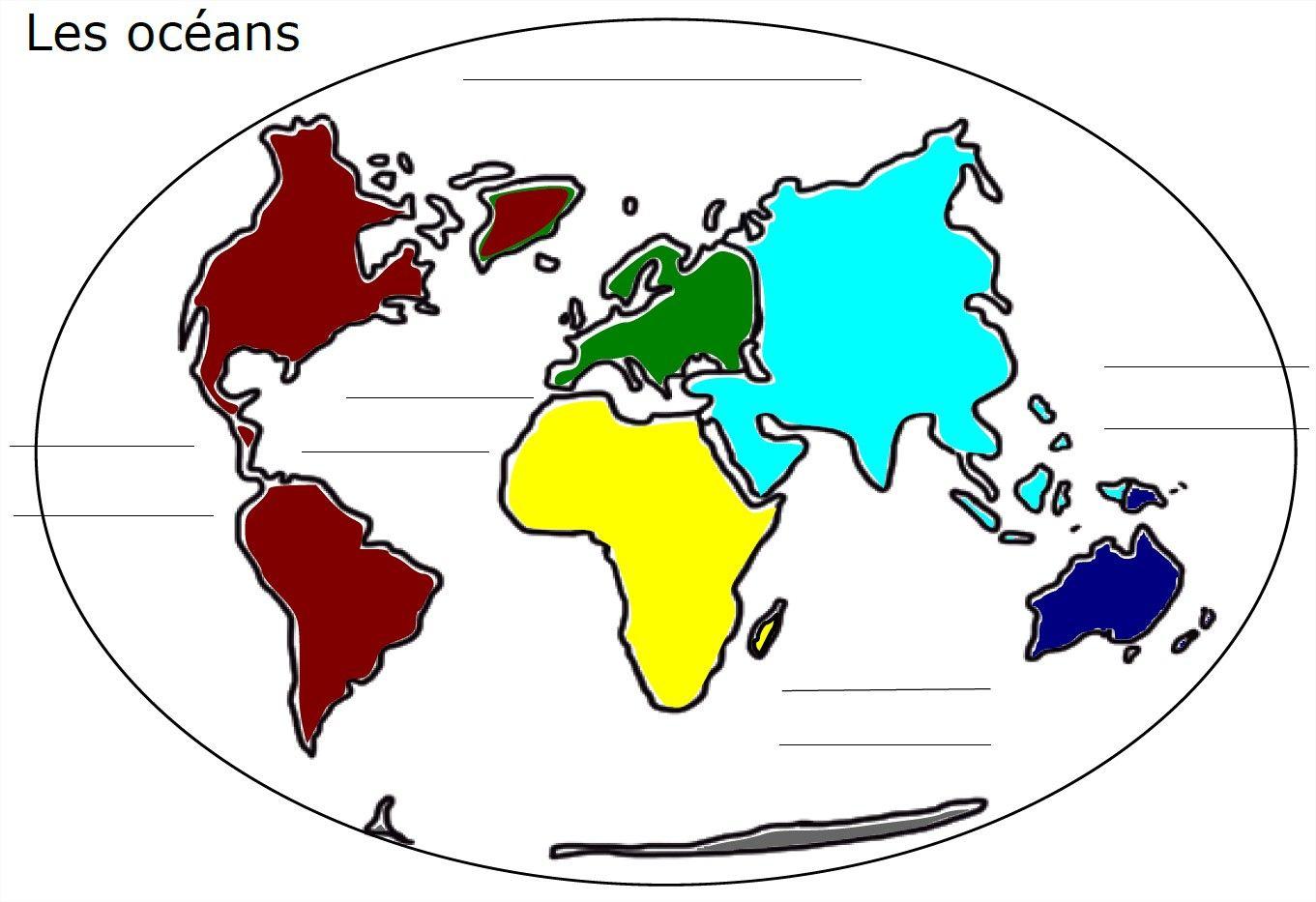 Carte Du Monde Avec Les Océans À Compléter | Disney serapportantà Carte Du Monde Avec Continent