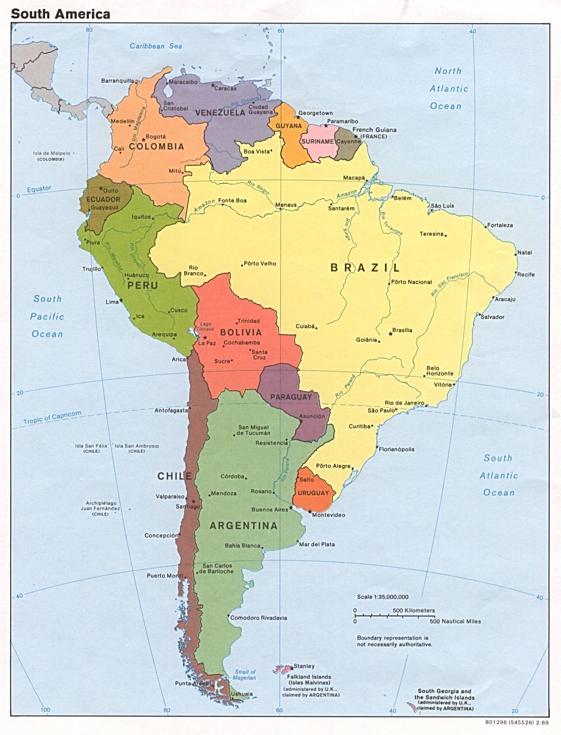 Carte Du Monde Avec Pays: Amerique Du Sud Carte Avec Pays avec Carte Du Monde Avec Continent