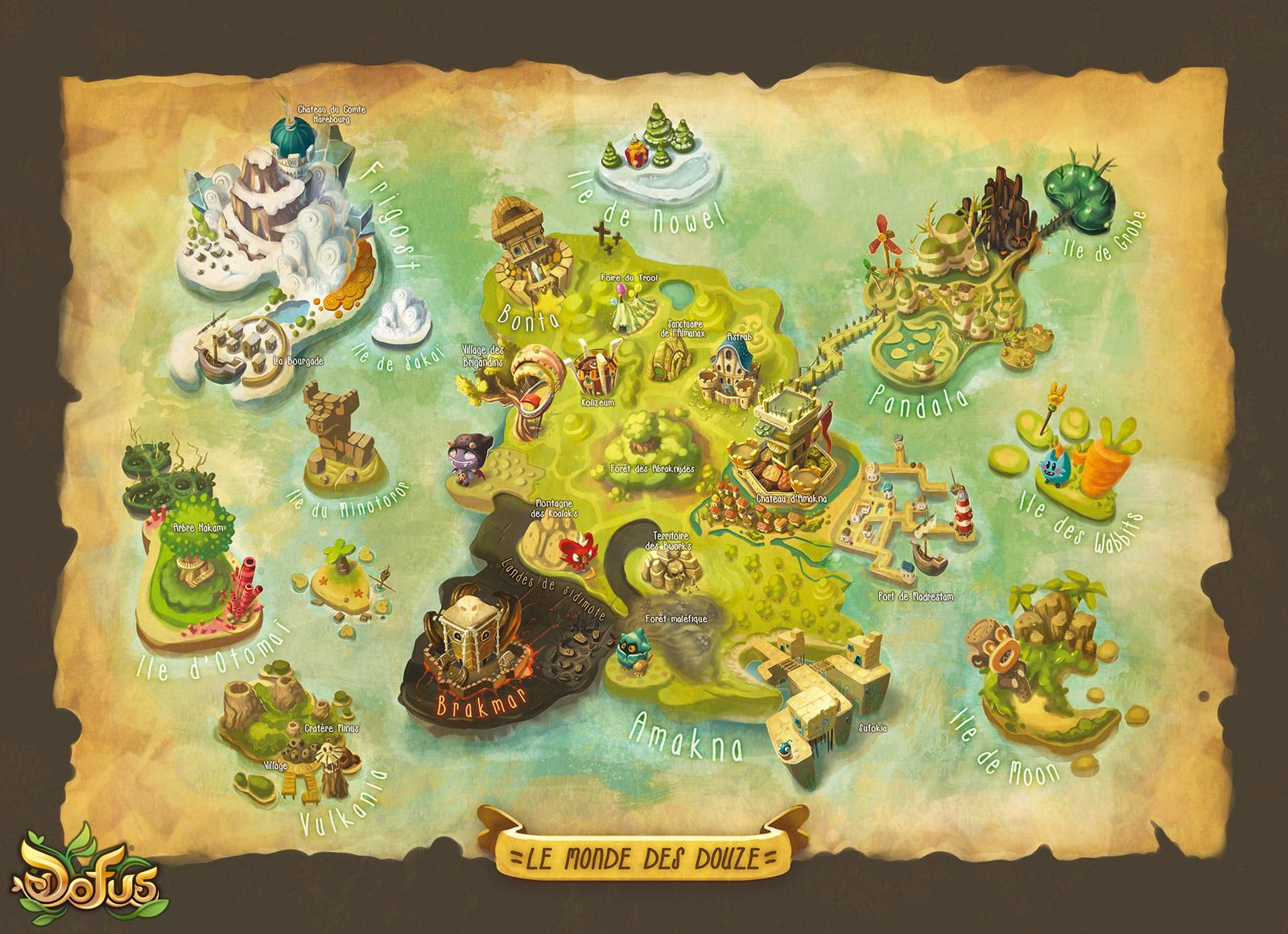 Carte Du Monde Des 12 - Illustrations - Médias Dofus - Dofus serapportantà Carte Du Monde En Ligne