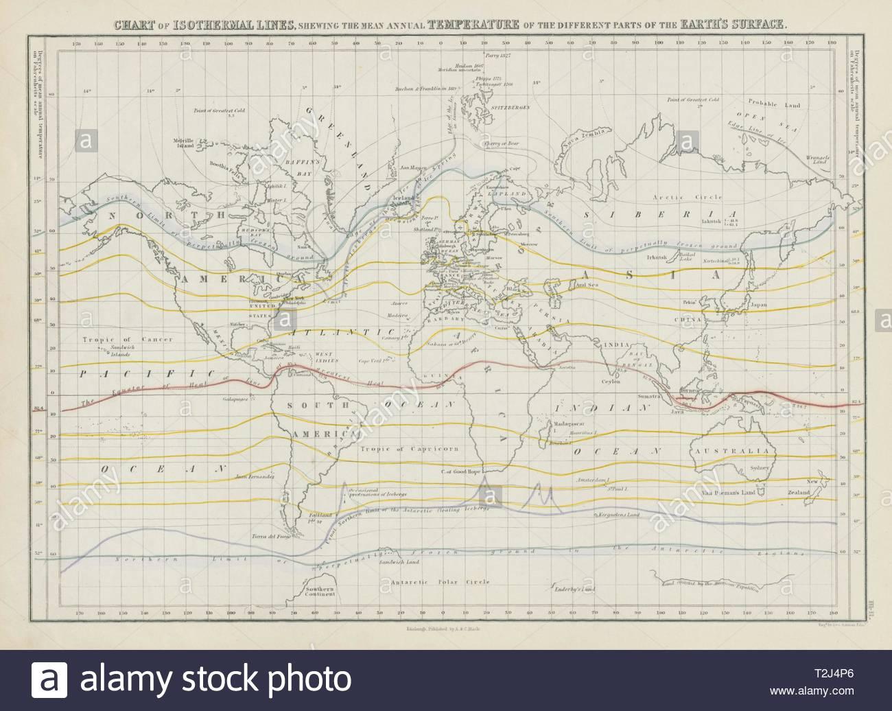 Carte Du Monde Des Lignes Isothermes. La Température destiné Carte Du Monde En Ligne