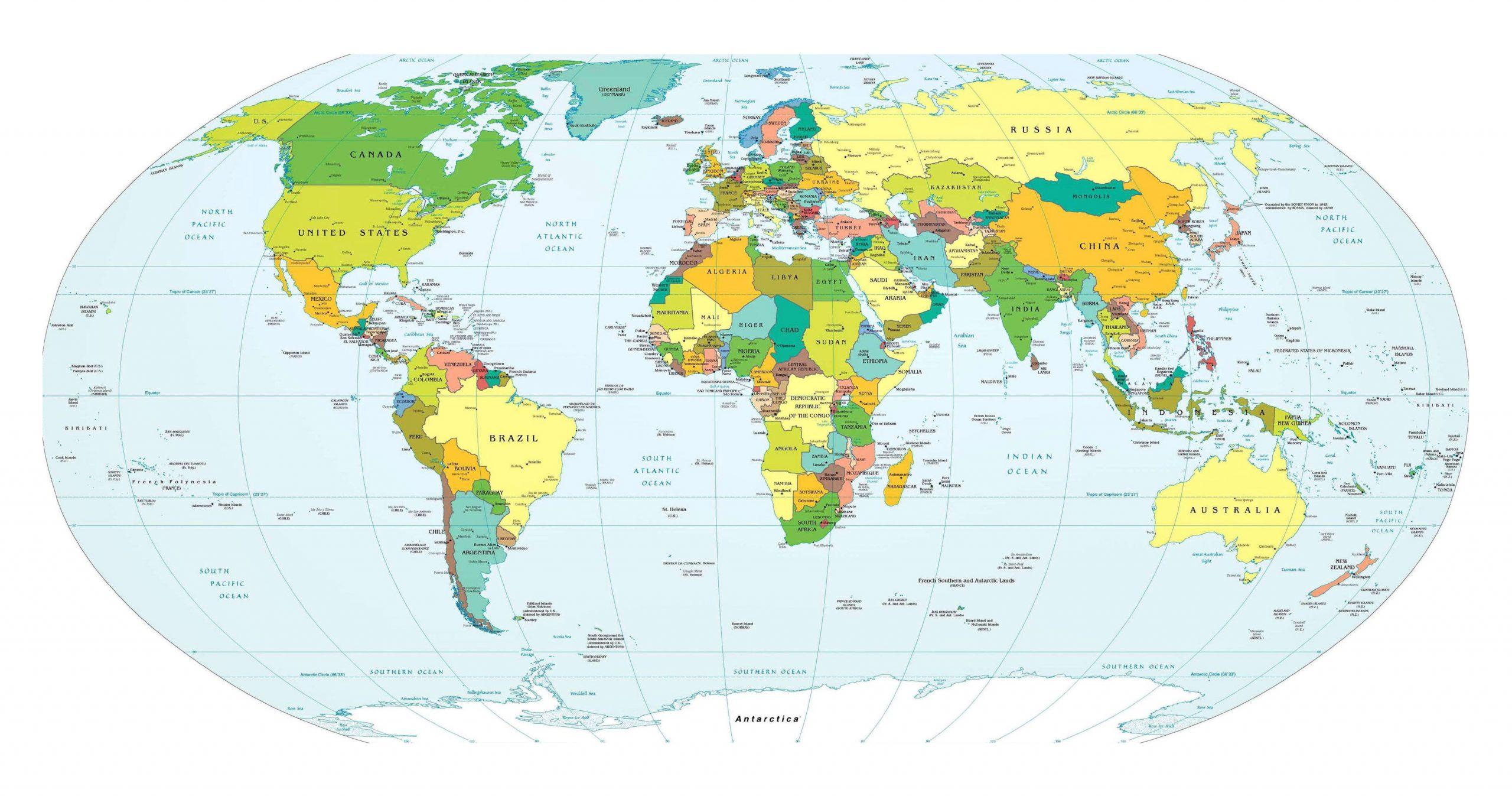Carte Du Monde Détaillée Avec Pays Et Capitales - Comparatif encequiconcerne Carte Du Monde Avec Continent