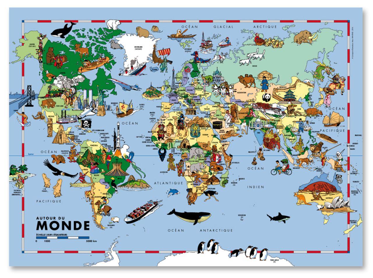 Carte Du Monde Grand Format Pour Enfants - Carte Murale destiné Planisphère Enfant