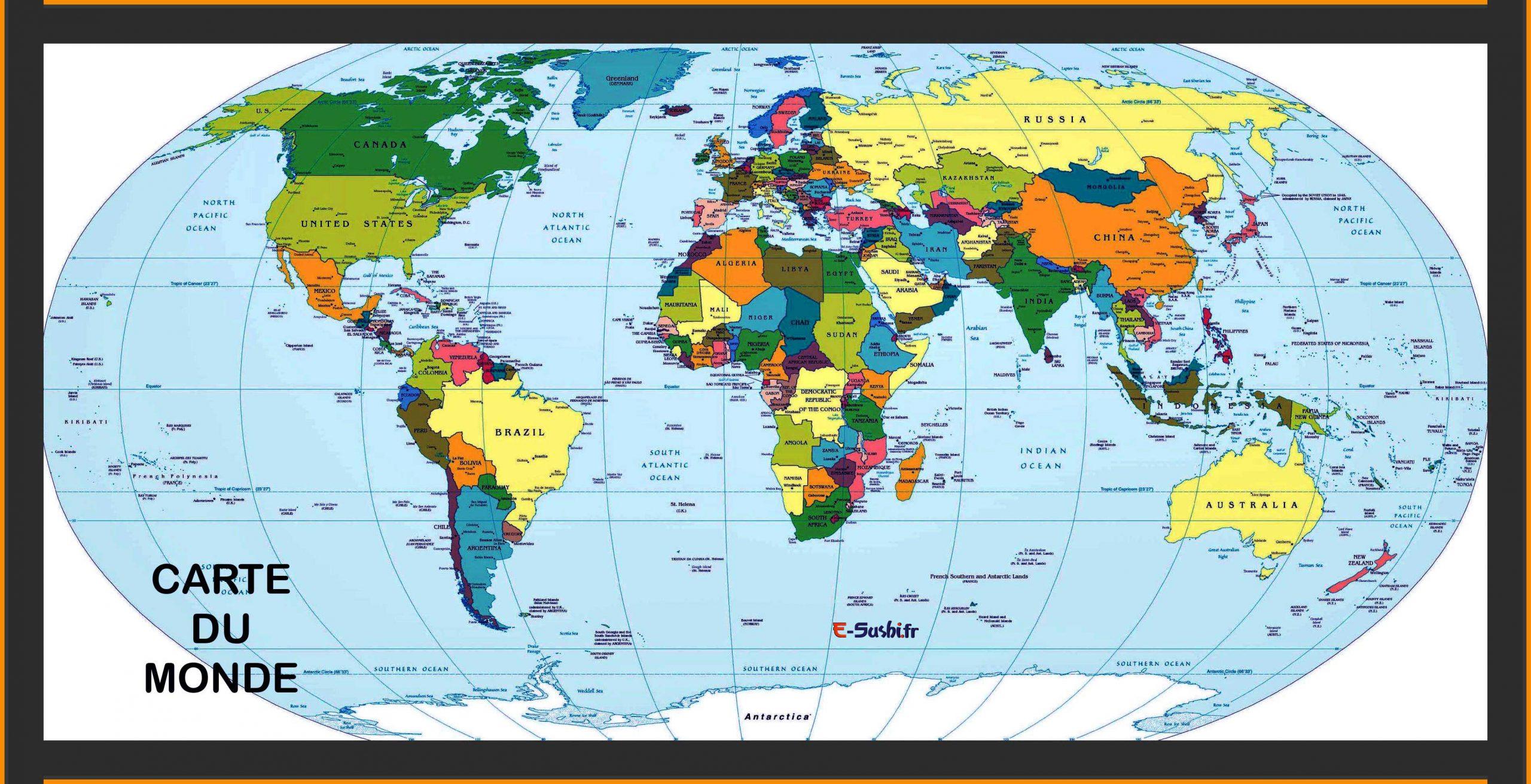 Carte Du Monde - Plan Des Pays - Images » Vacances - Arts à Carte Du Monde Avec Capitales Et Pays