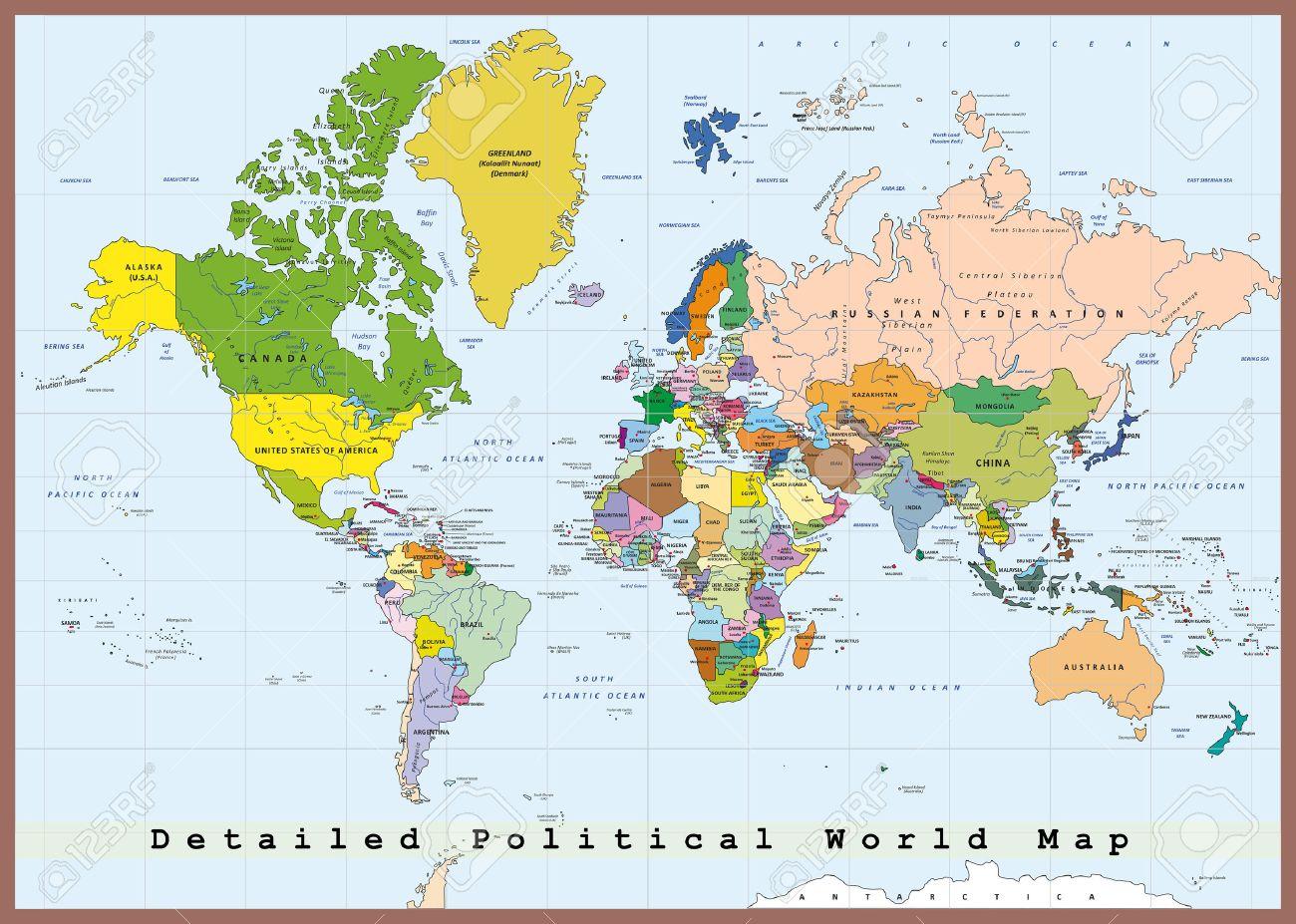 Carte Du Monde Politique Détaillée Avec Les Capitales destiné Carte Du Monde Avec Capitales Et Pays